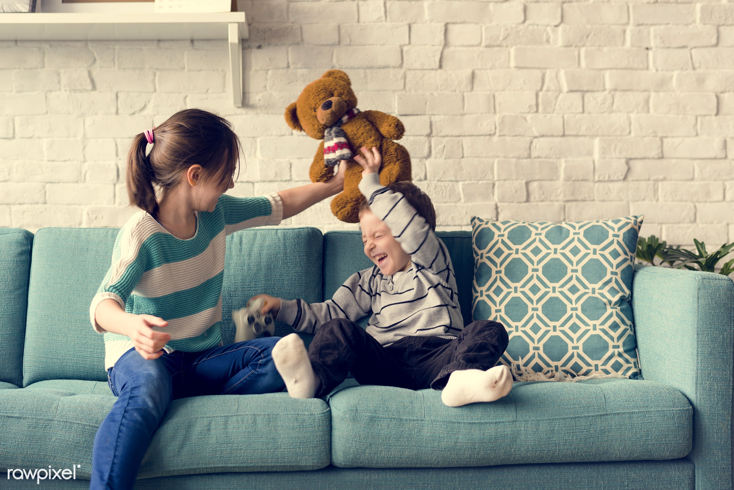 home, playful, teddy bear, relax, daughter, object, caucasian, sister, sofa, laughing, living room, cheerful, activity,...