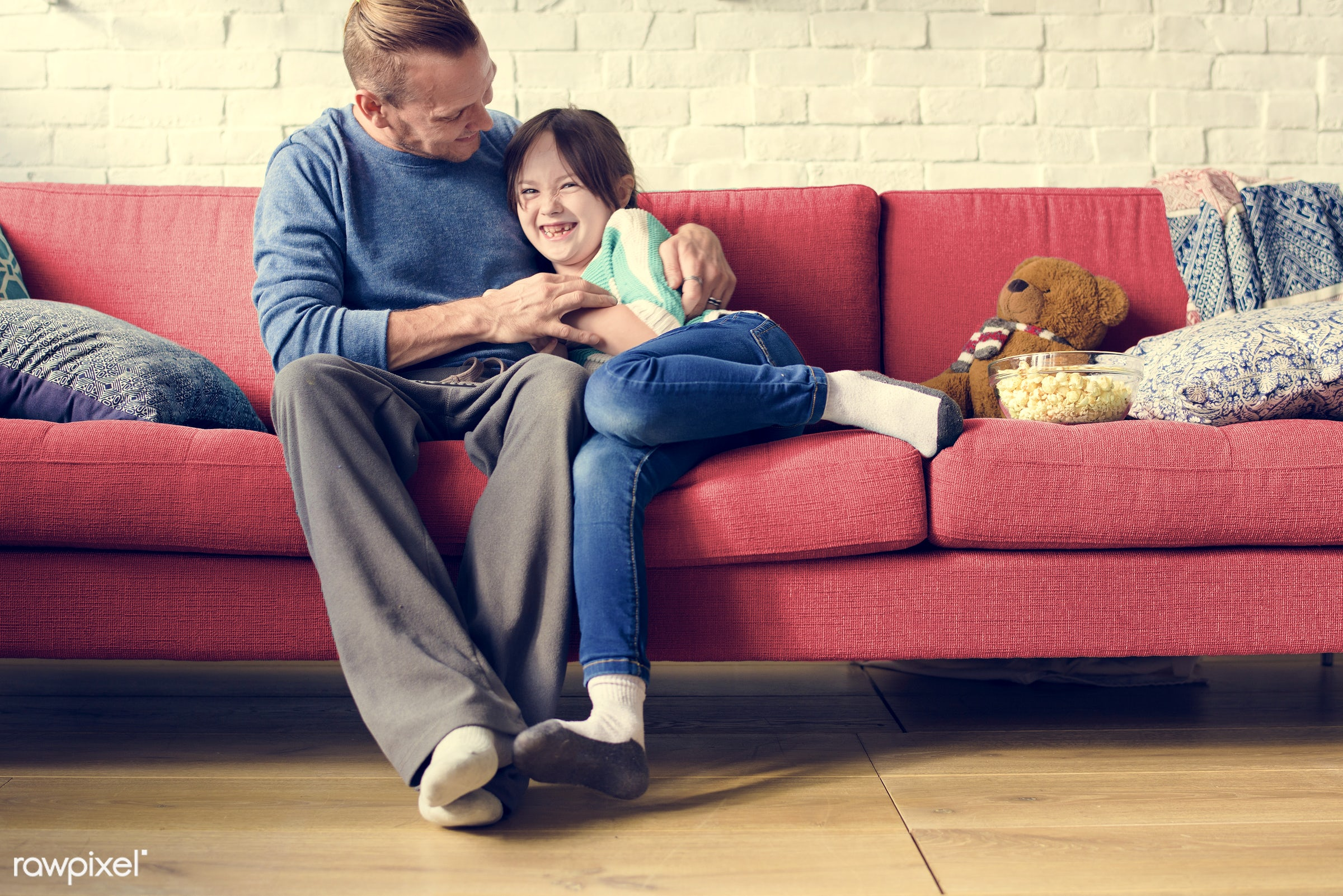 home, daddy, daughter, house, father, kid, love, child, sofa, laughing, girl, family, living room, casual, childhood,...