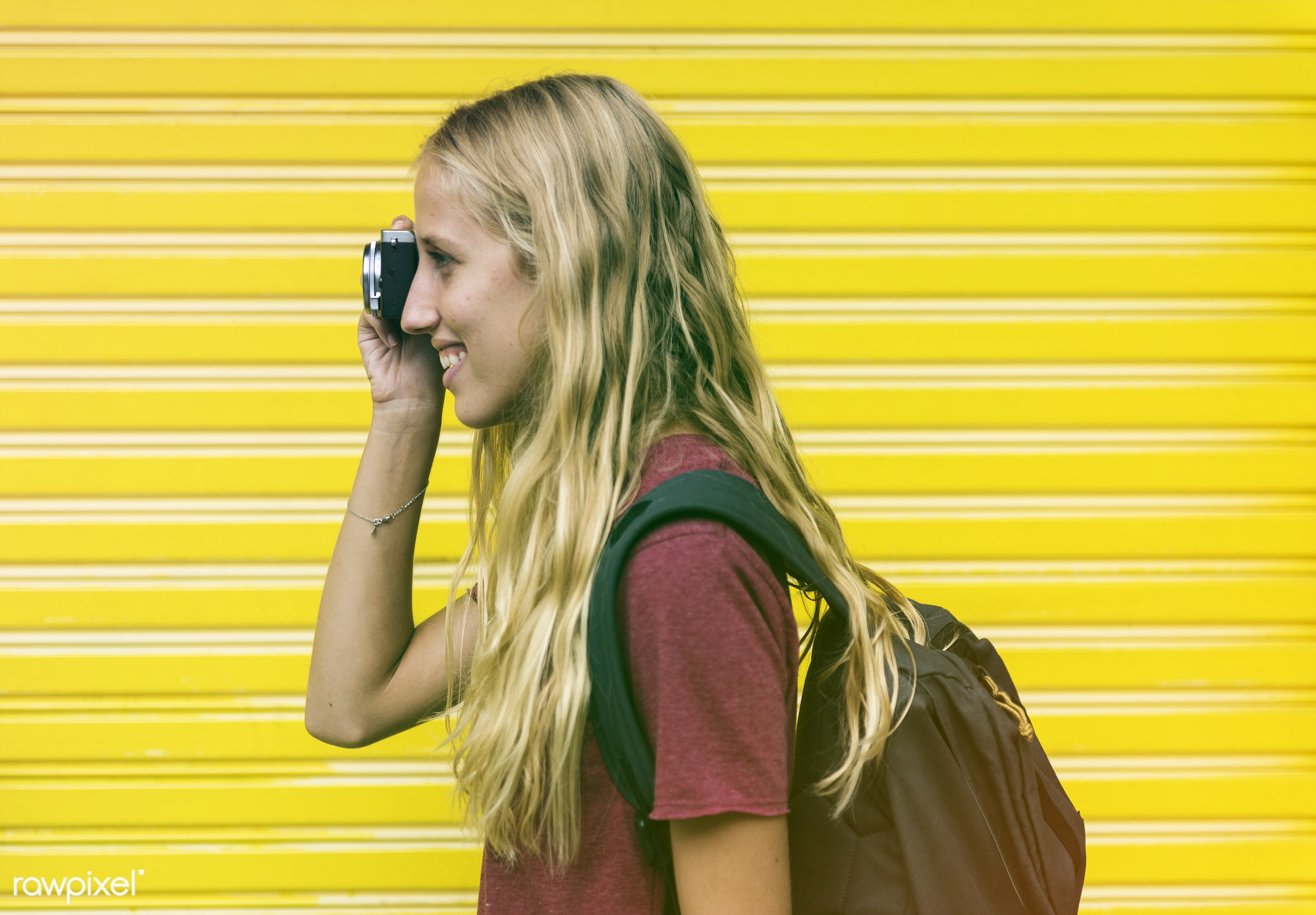 backpackers, faded, travel, vibrant, yellow, people, wanderlust, caucasian, woman, blend, smile, cheerful, light, smiling,...