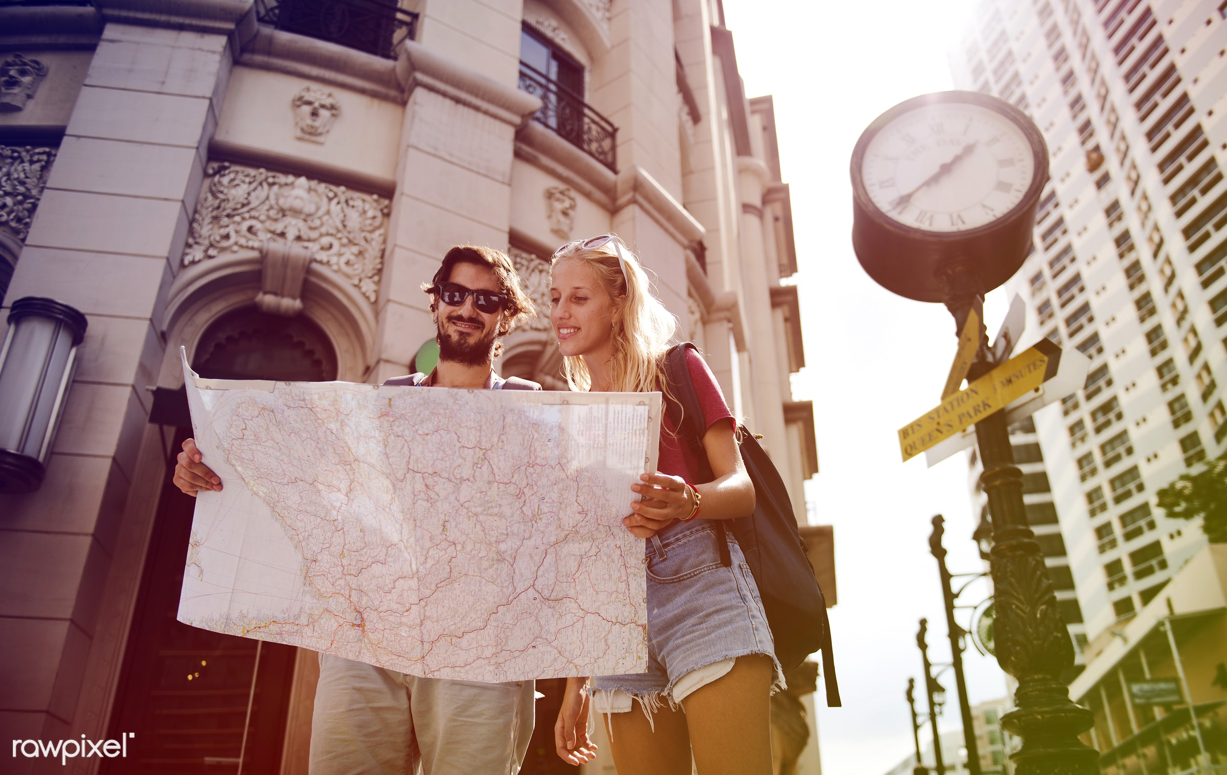 metropolis, backpackers, faded, vibrant, travel, people, together, wanderlust, city, center, woman, blend, buildings,...