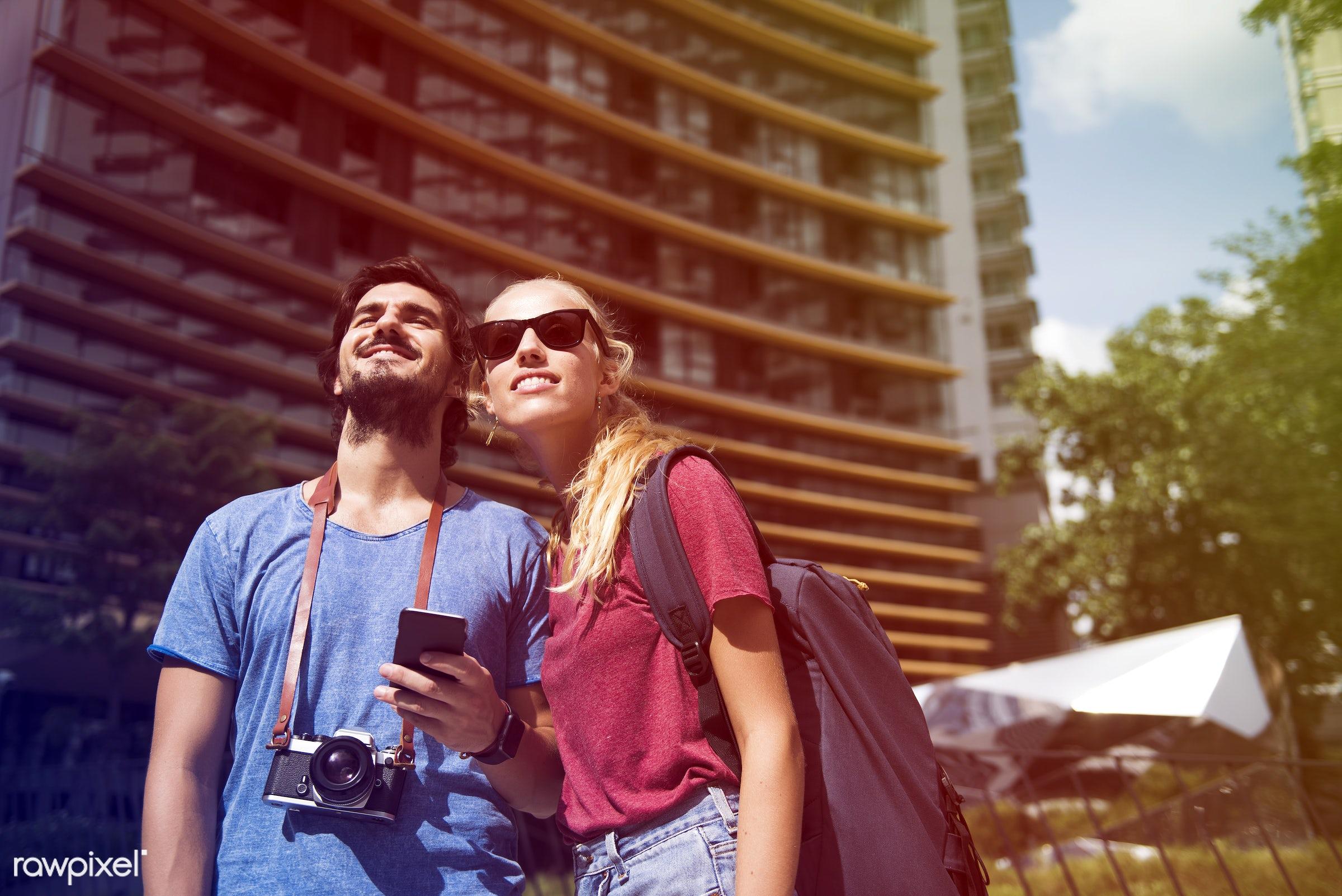 metropolis, backpackers, faded, vibrant, travel, people, wanderlust, city, center, woman, blend, buildings, partner, light,...