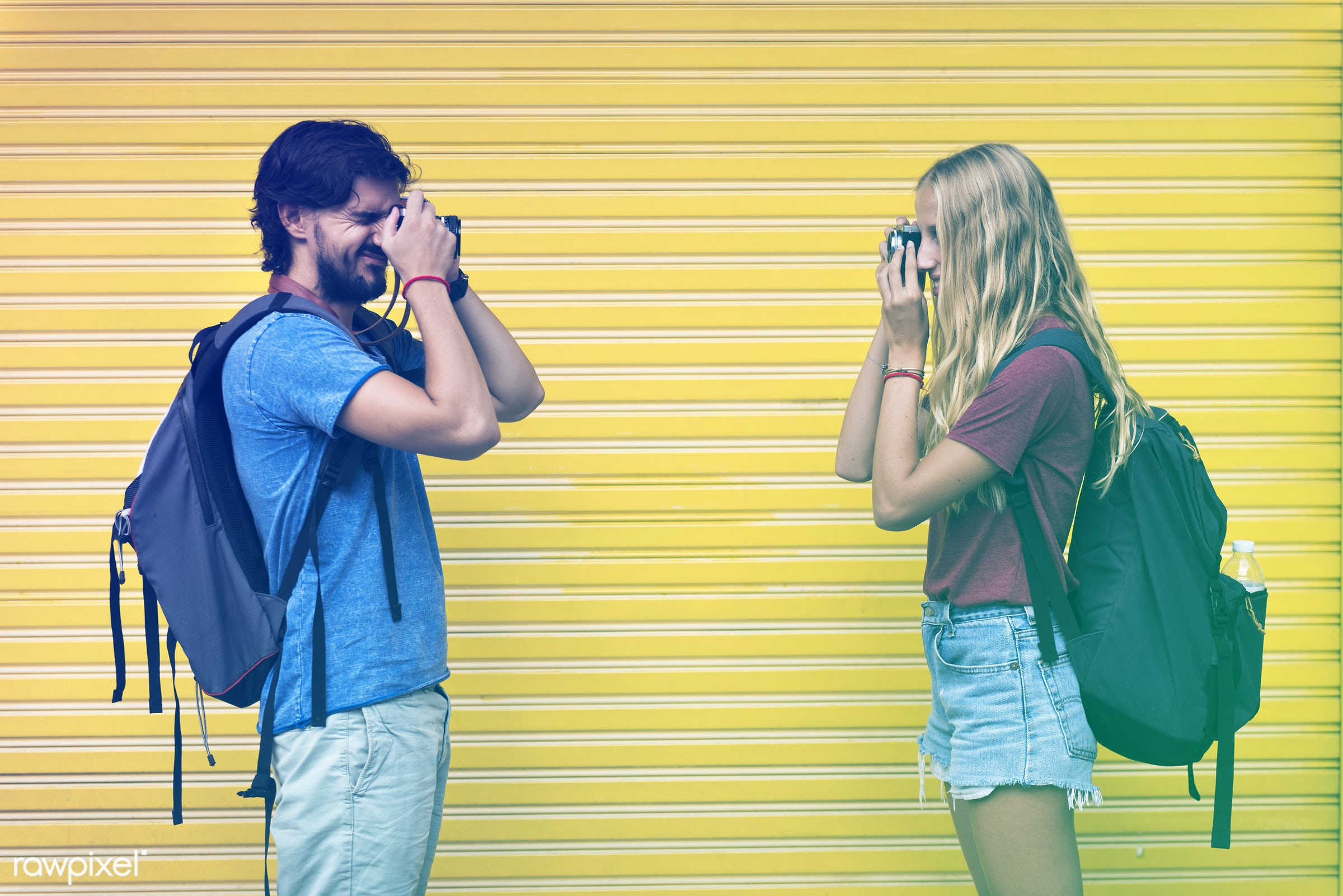 backpackers, faded, yellow, vibrant, travel, people, together, city, woman, blend, partner, light, art, holiday, vacation,...
