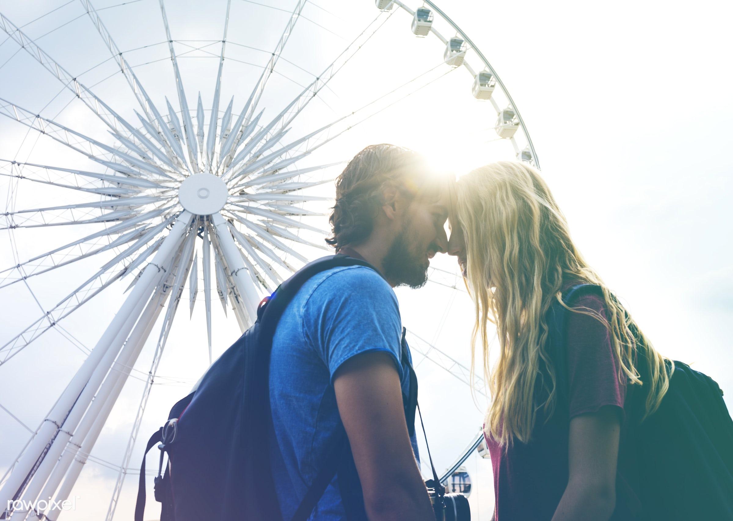 adult, affection, amusement, art, beard, blend, blonde, bonding, boyfriend, carousel, casual, caucasian, cheerful, city,...