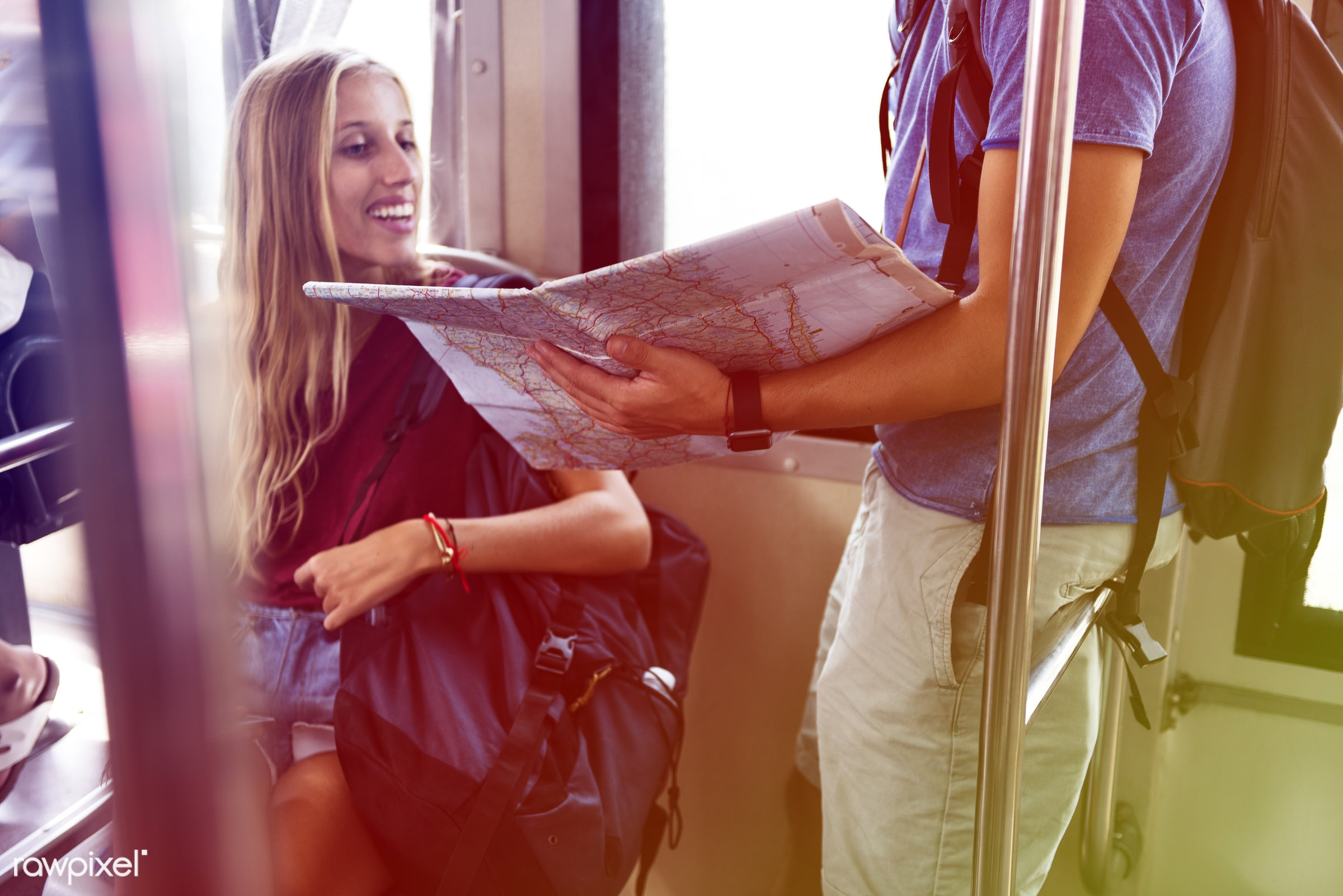 guide, backpackers, faded, vibrant, travel, bonding, people, wanderlust, city, love, staring, subway, woman, commute, train...
