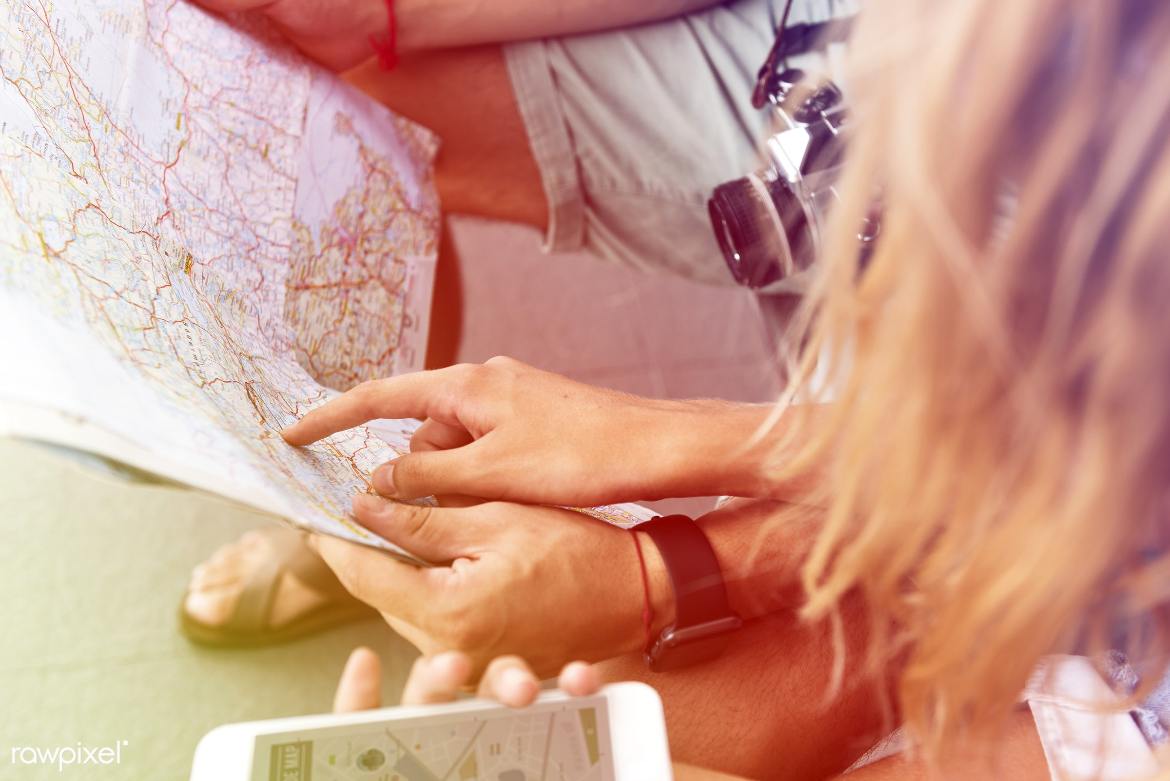 guide, using, automobile, backpackers, faded, vibrant, transportation, travel, people, wanderlust, woman, blend, partner,...