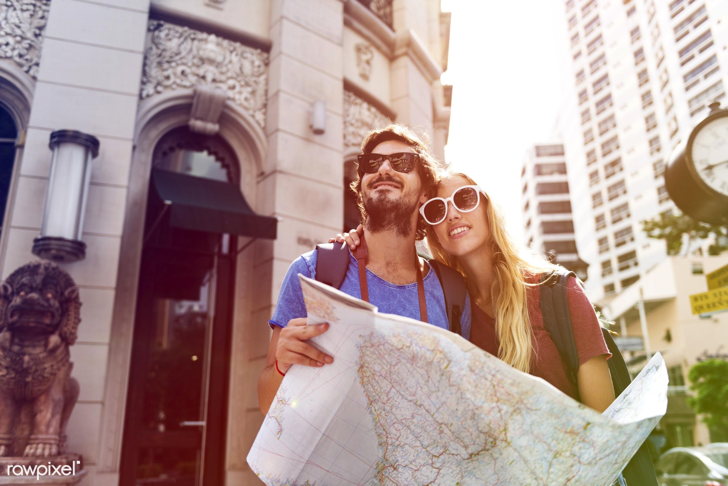 metropolis, backpackers, faded, vibrant, travel, people, together, wanderlust, center, woman, blend, buildings, partner,...