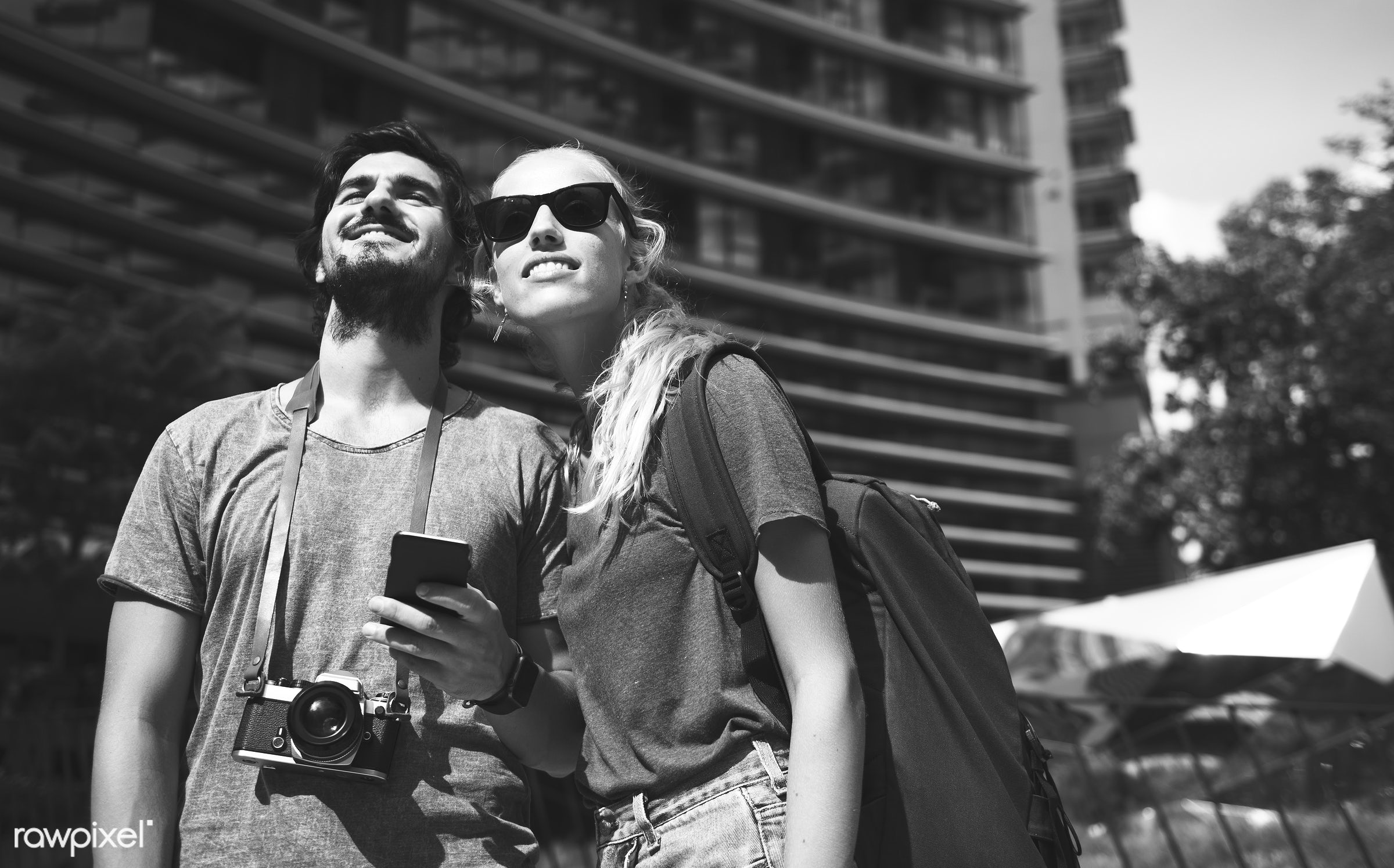 metropolis, backpackers, travel, people, together, city, wanderlust, center, sight, girl, woman, casual, couple, partner,...