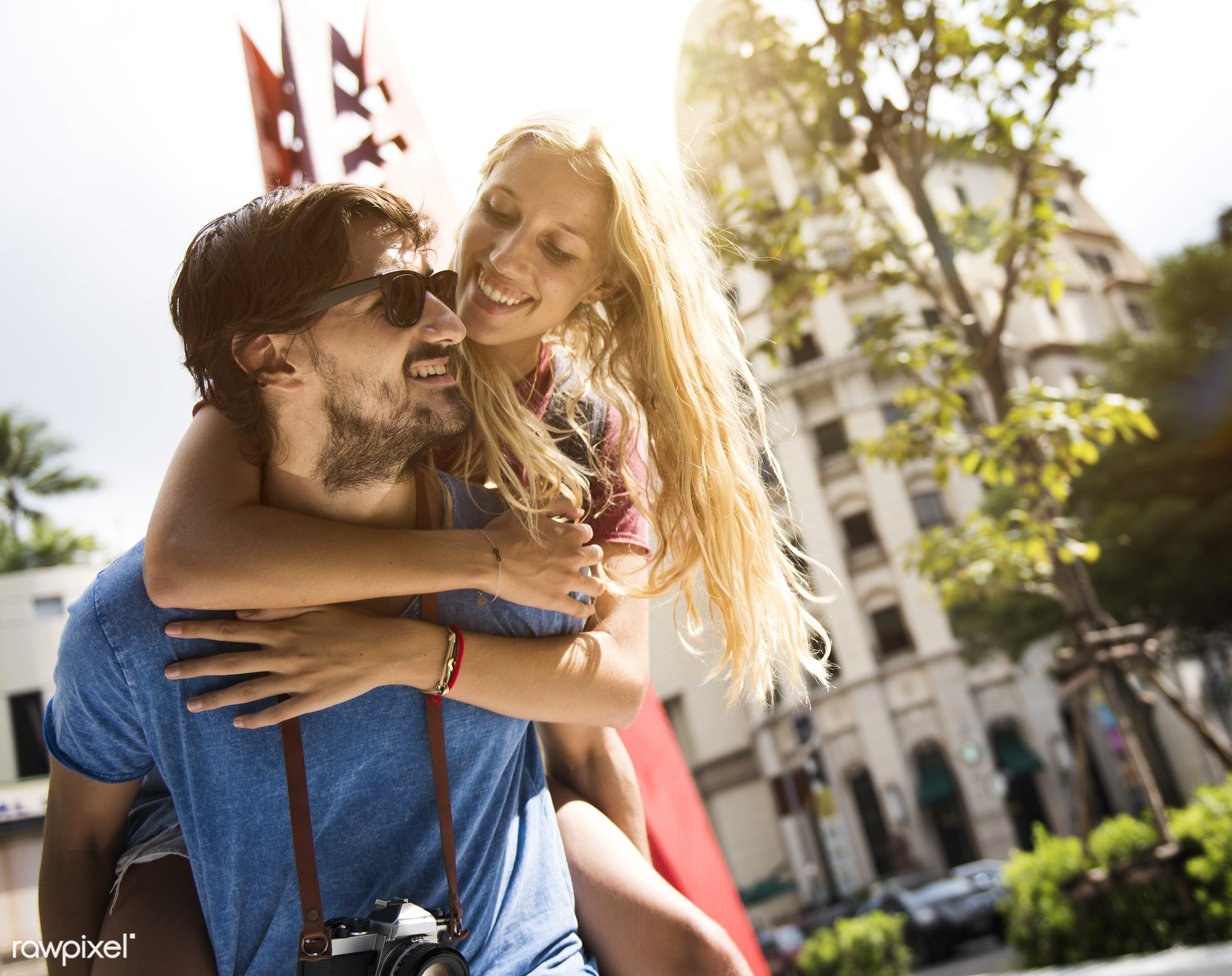 adult, affection, beard, blonde, bonding, boyfriend, building, carrying, casual, caucasian, cheerful, city, couple, female,...