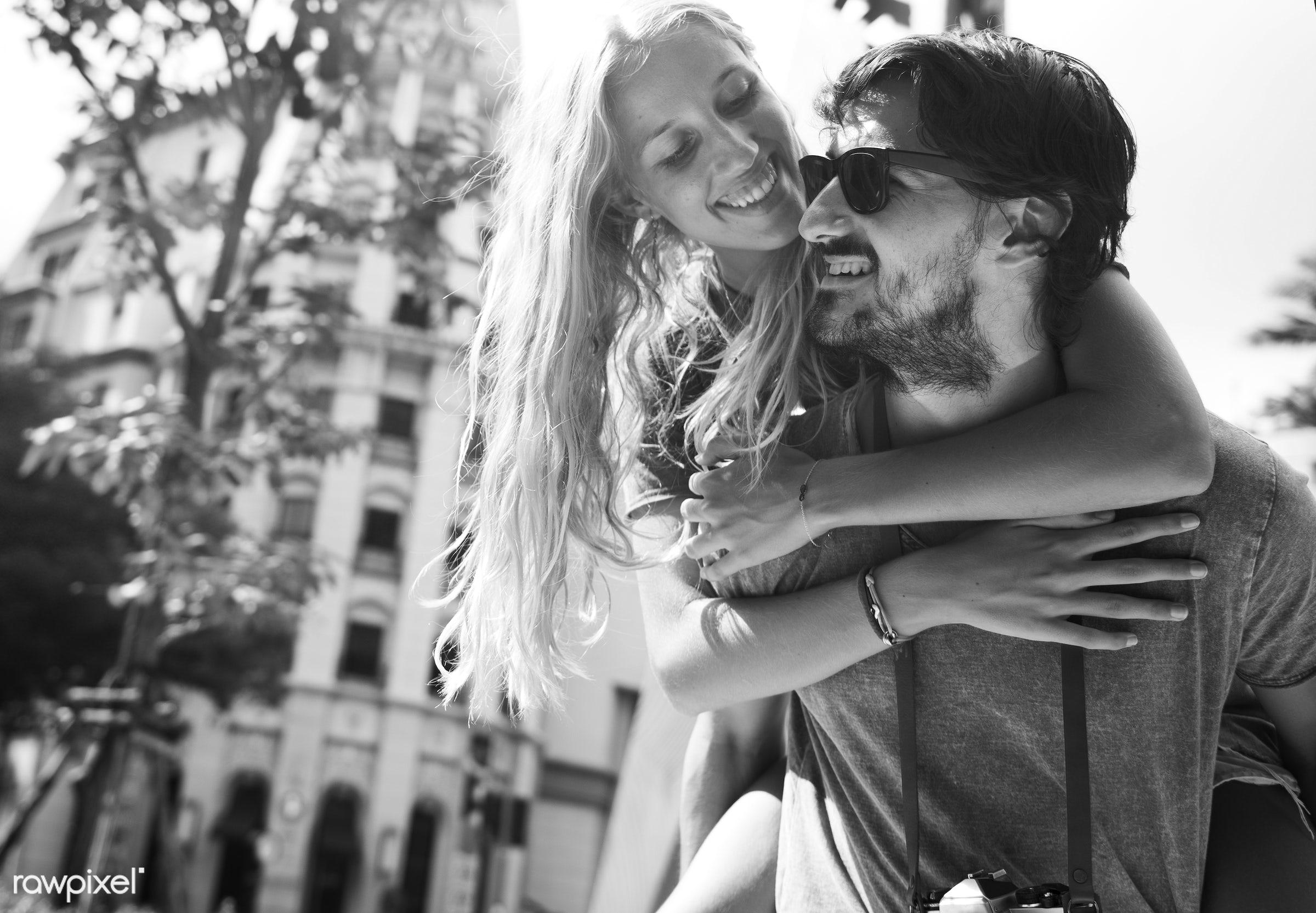urban, adult, affection, beard, blonde, bonding, boyfriend, building, carrying, casual, caucasian, cheerful, city, couple,...