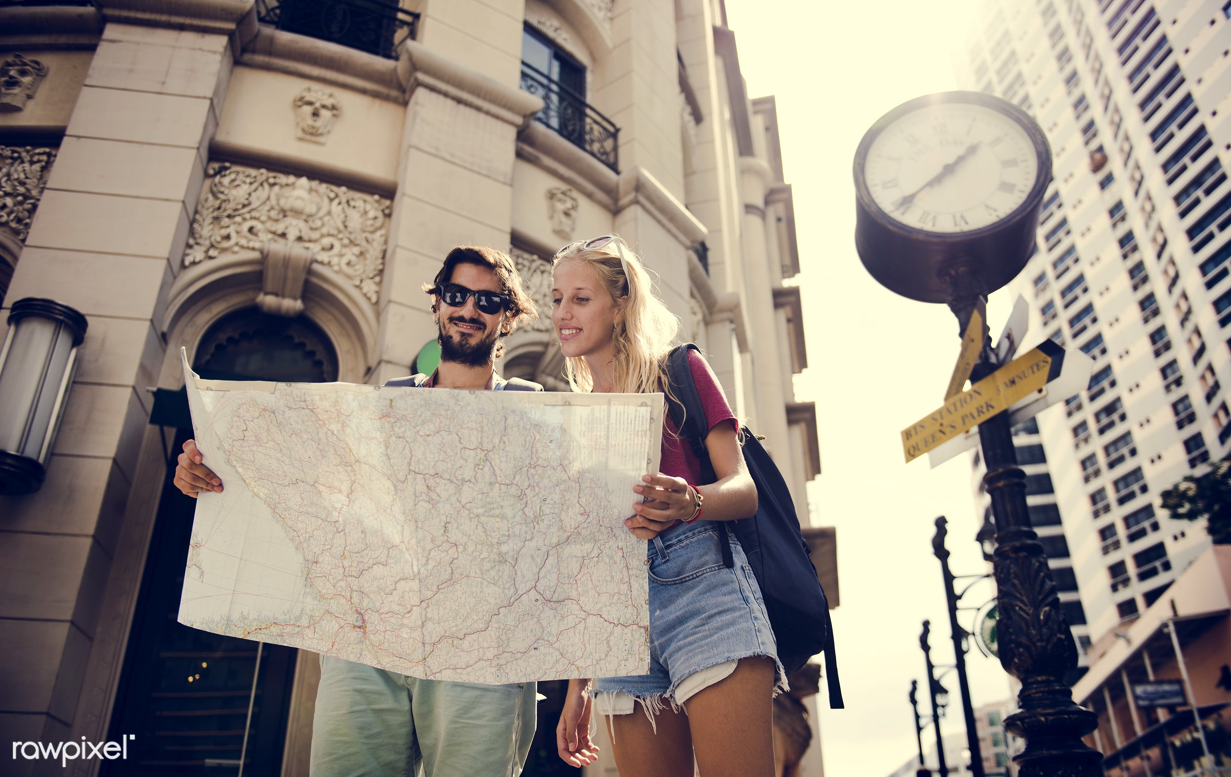 metropolis, backpackers, travel, people, together, wanderlust, city, center, woman, buildings, partner, smile, smiling,...