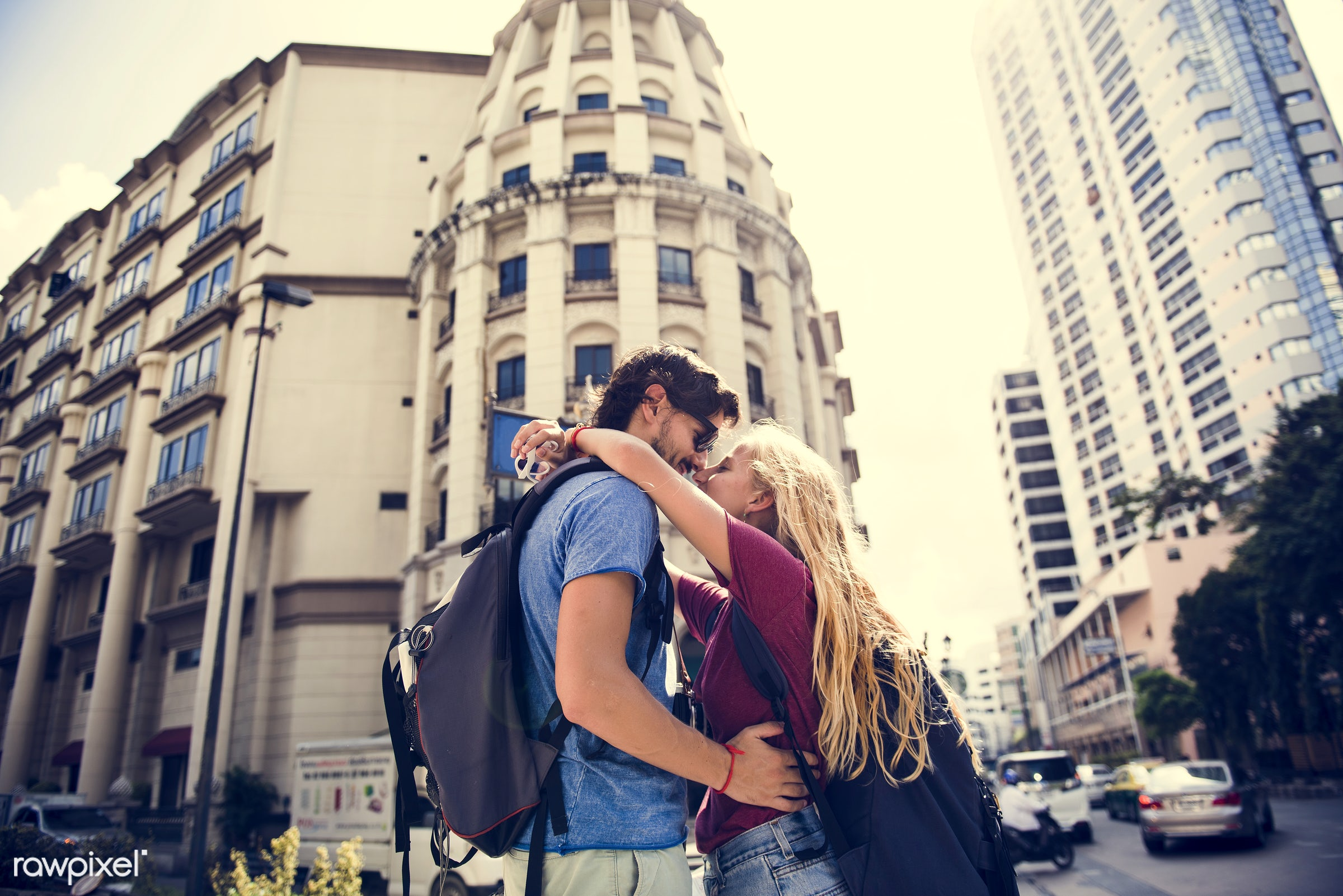 adult, affection, arms, around, beard, blonde, bonding, boyfriend, busy, casual, caucasian, cheerful, city, couple, embrace...