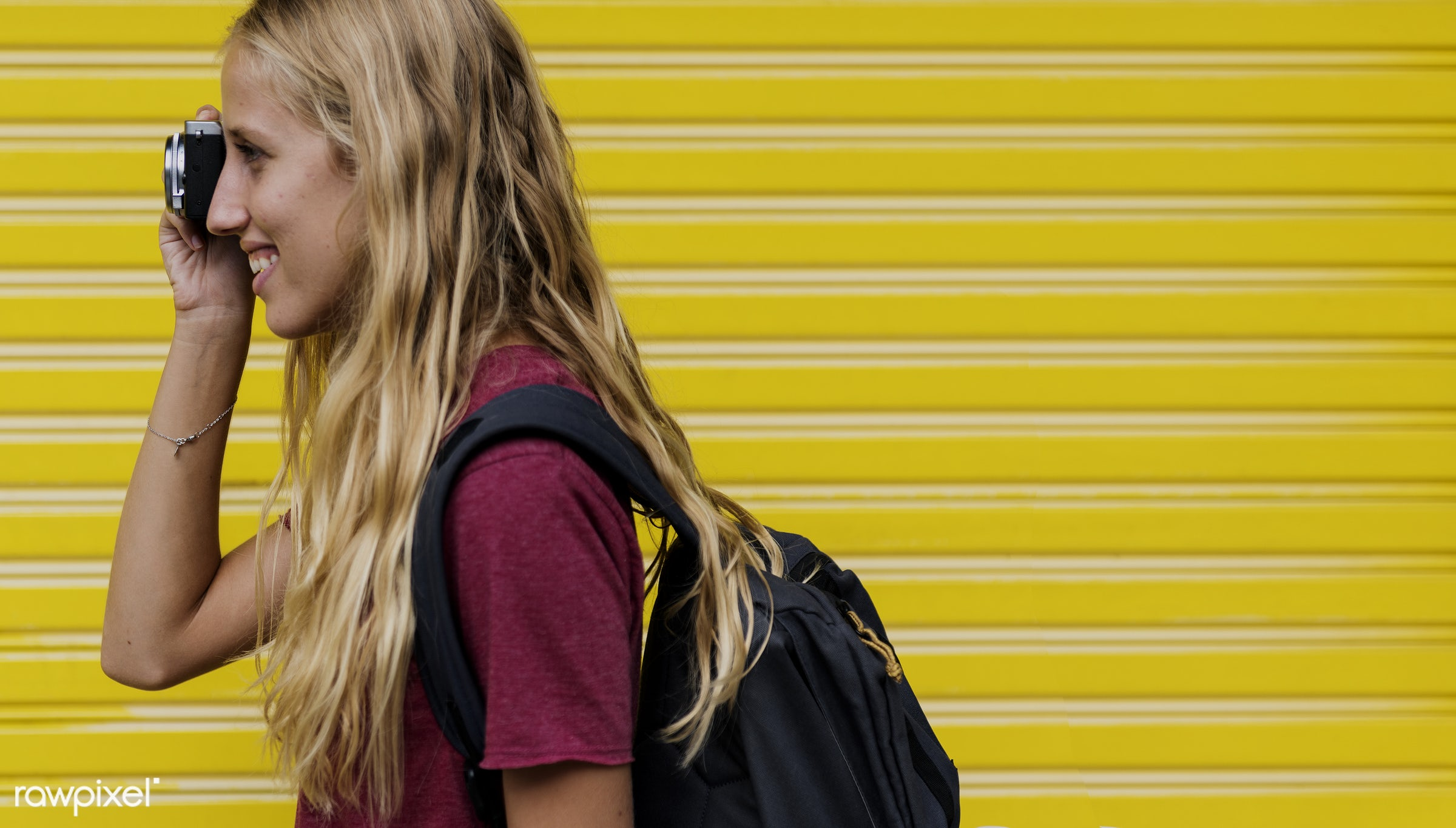 backpackers, side view, pictures, travel, yellow, people, caucasian, wanderlust, girl, woman, backpack, trip, smile,...