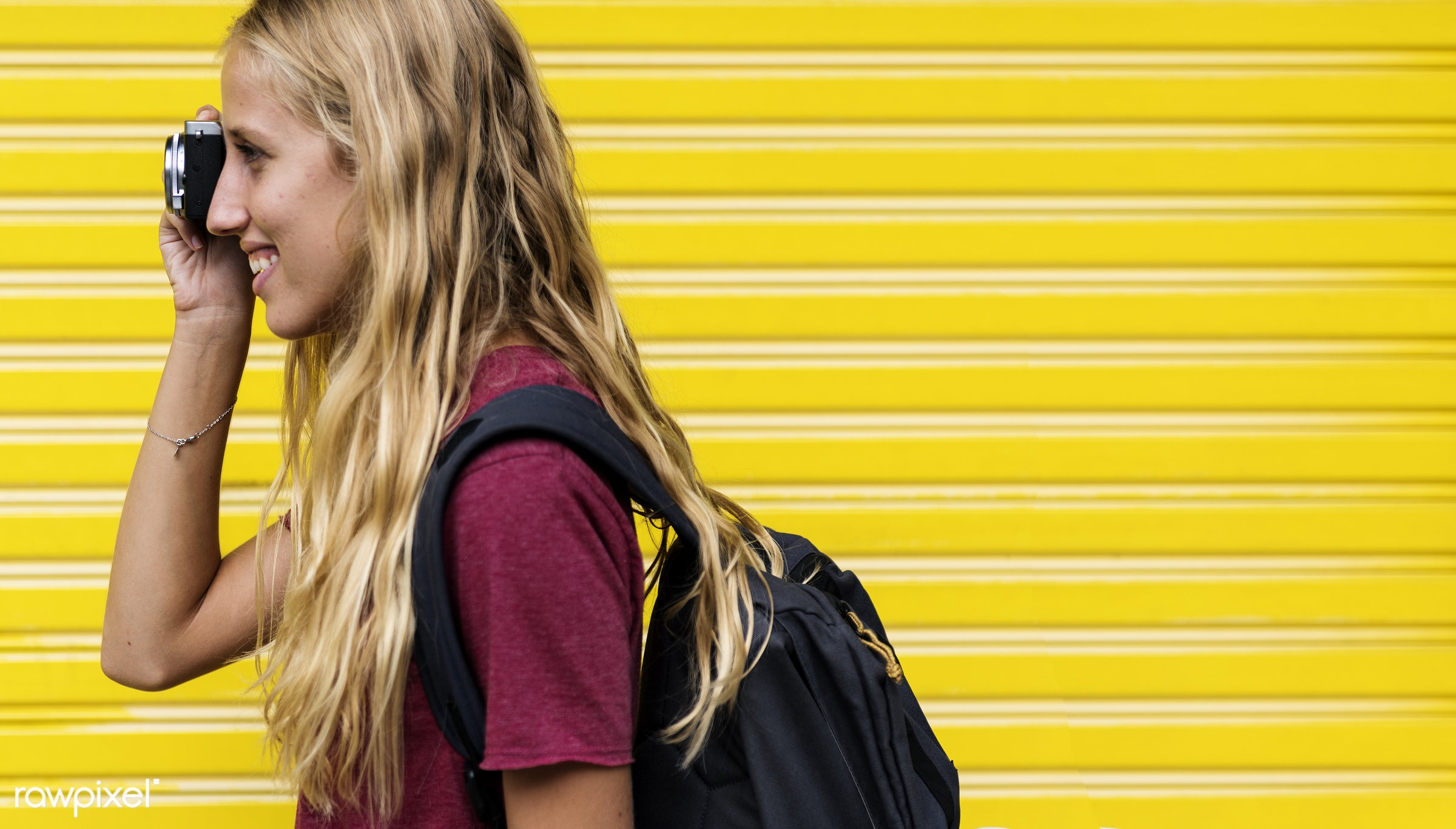 side view, backpackers, pictures, travel, yellow, people, caucasian, wanderlust, girl, woman, backpack, trip, smile,...