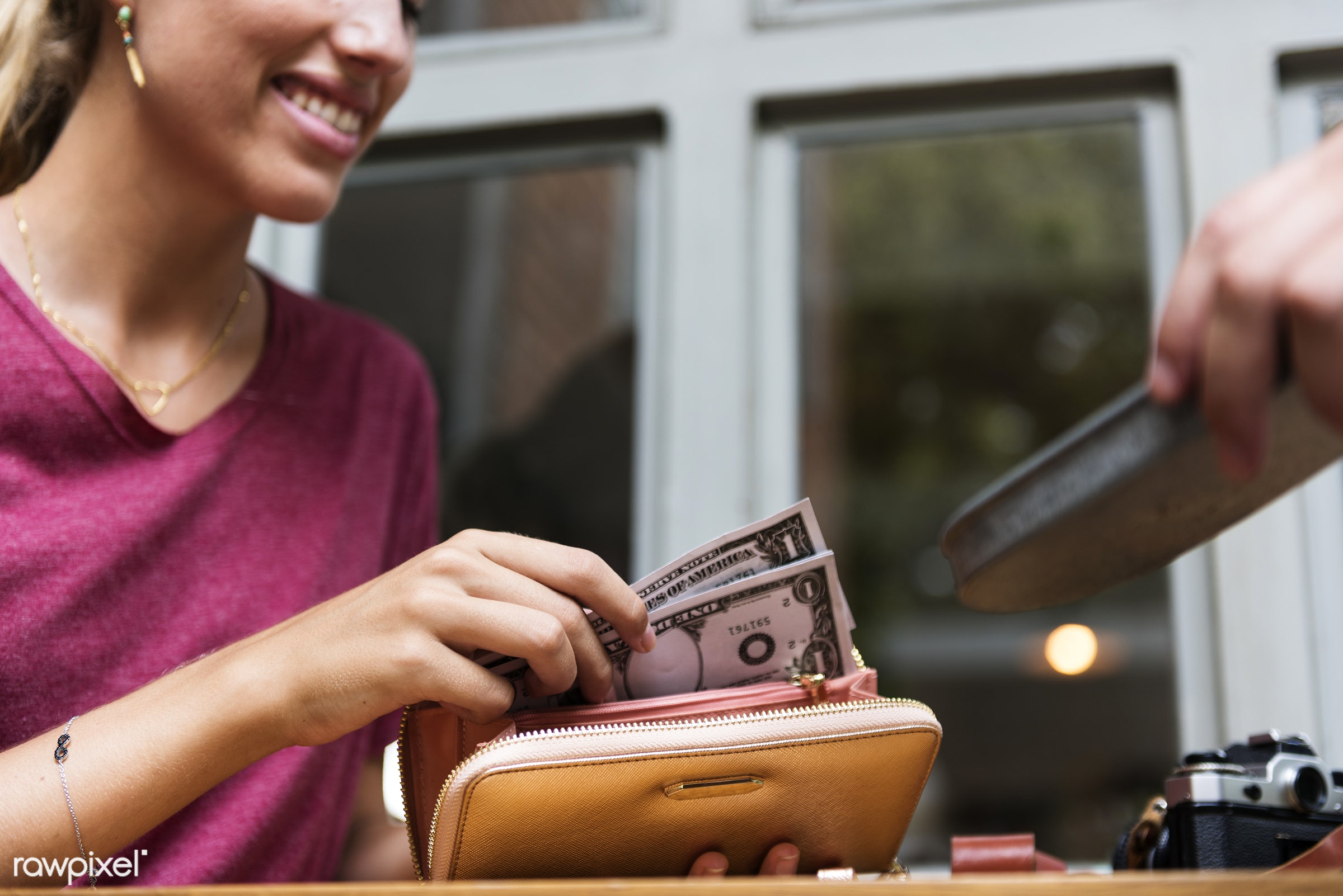 purse, bill, restaurant, date, wallet, girl, woman, money, glass, paying, top, check, payment, camera, dollars, aerial,...