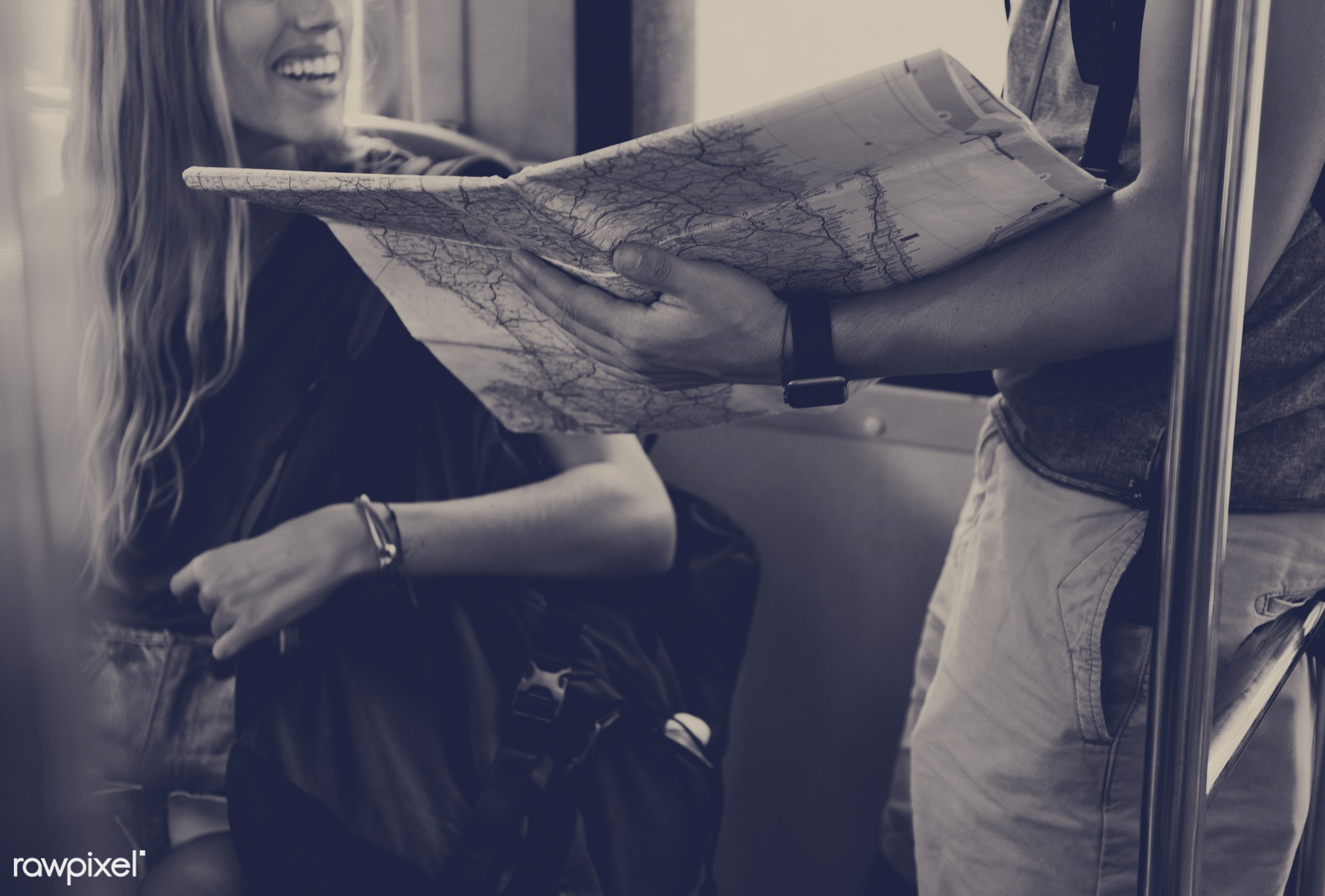 guide, backpackers, travel, people, wanderlust, subway, girl, woman, map, commute, train, partner, couple, trip, man, guy,...