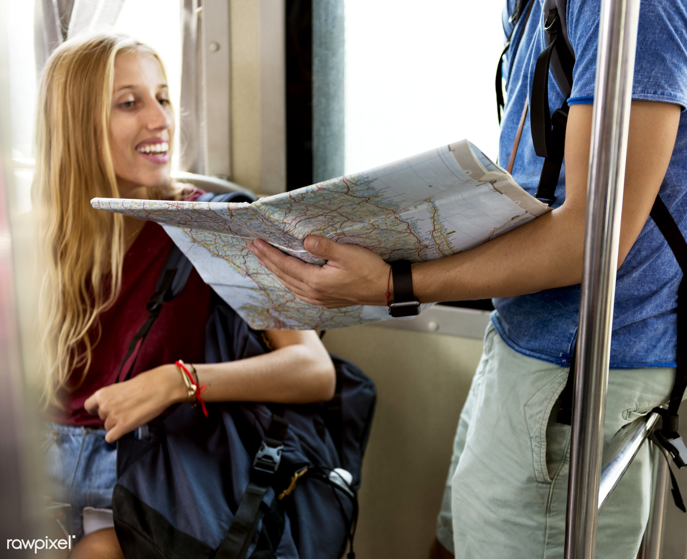 discussion, direction, traveler, travel, decision, talking, backpacker, navigation, riding, woman, map, train, couple, tour...