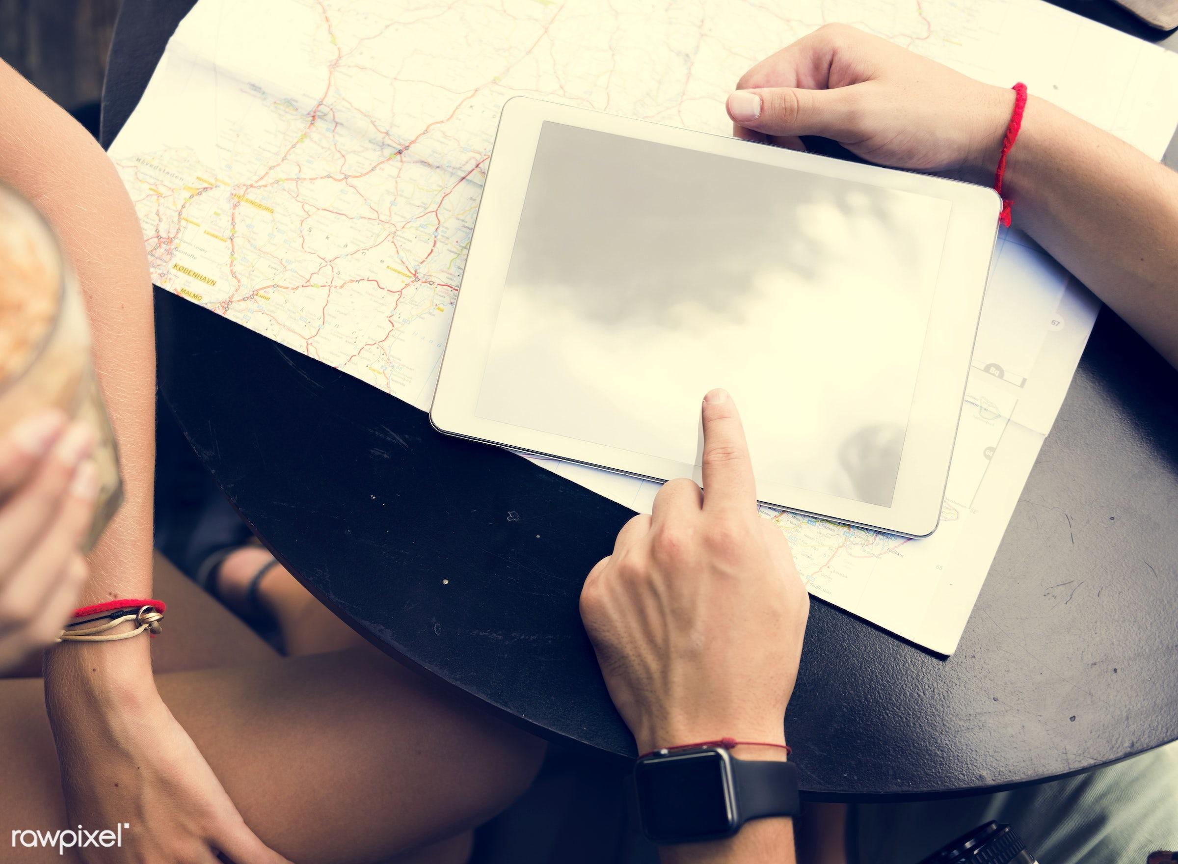 direction, navigation, map, boyfriend, cafe, closeup, coffee, coffee shop, copy space, couple, device, digital, digital...
