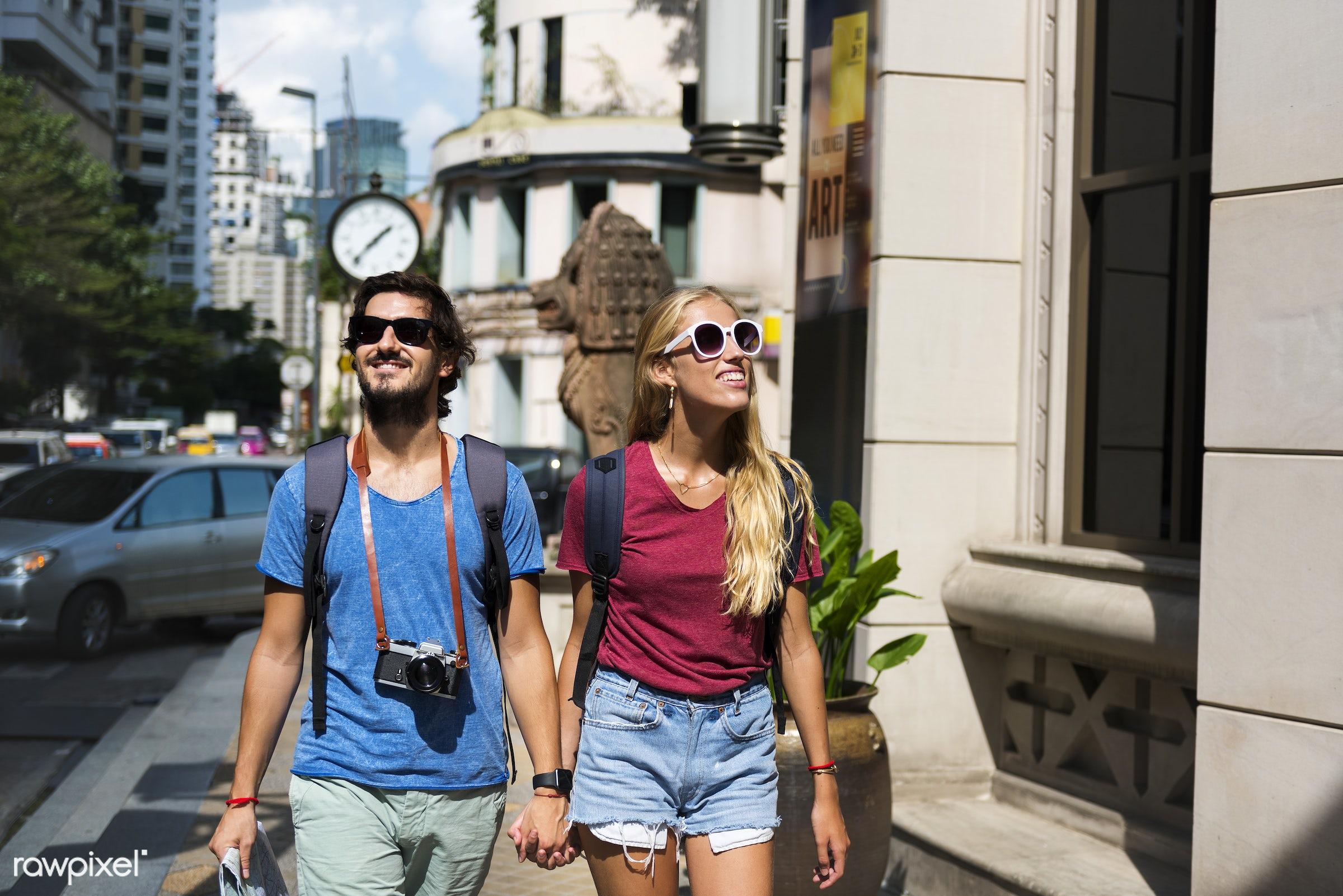 metropolis, holding, backpackers, travel, people, together, wanderlust, city, center, woman, buildings, partner, smile,...
