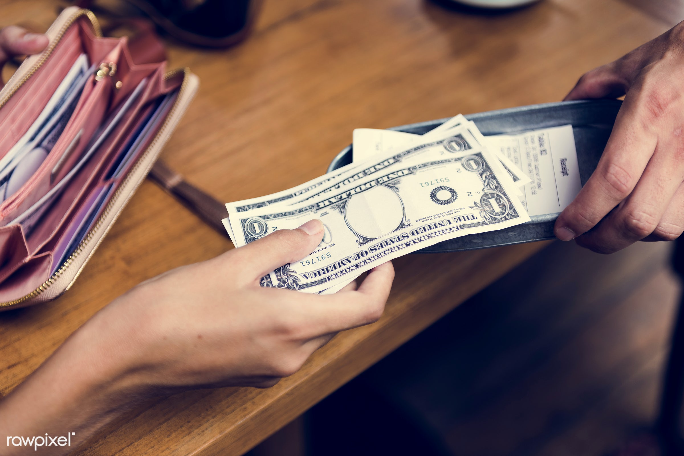purse, bill, restaurant, date, wallet, girl, woman, money, glass, paying, top, check, payment, dollars, camera, aerial,...