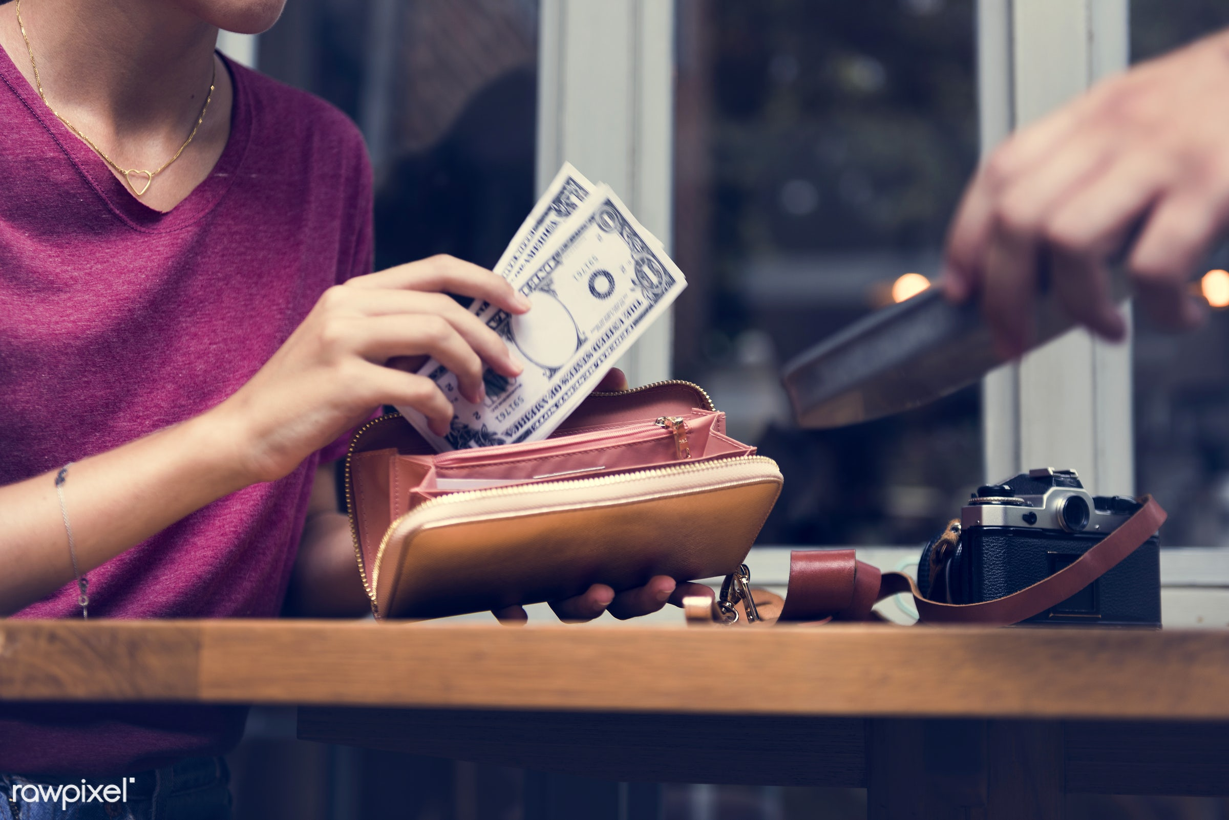 bill, purse, restaurant, date, wallet, girl, woman, money, glass, paying, check, payment, camera, dollars, table, window,...