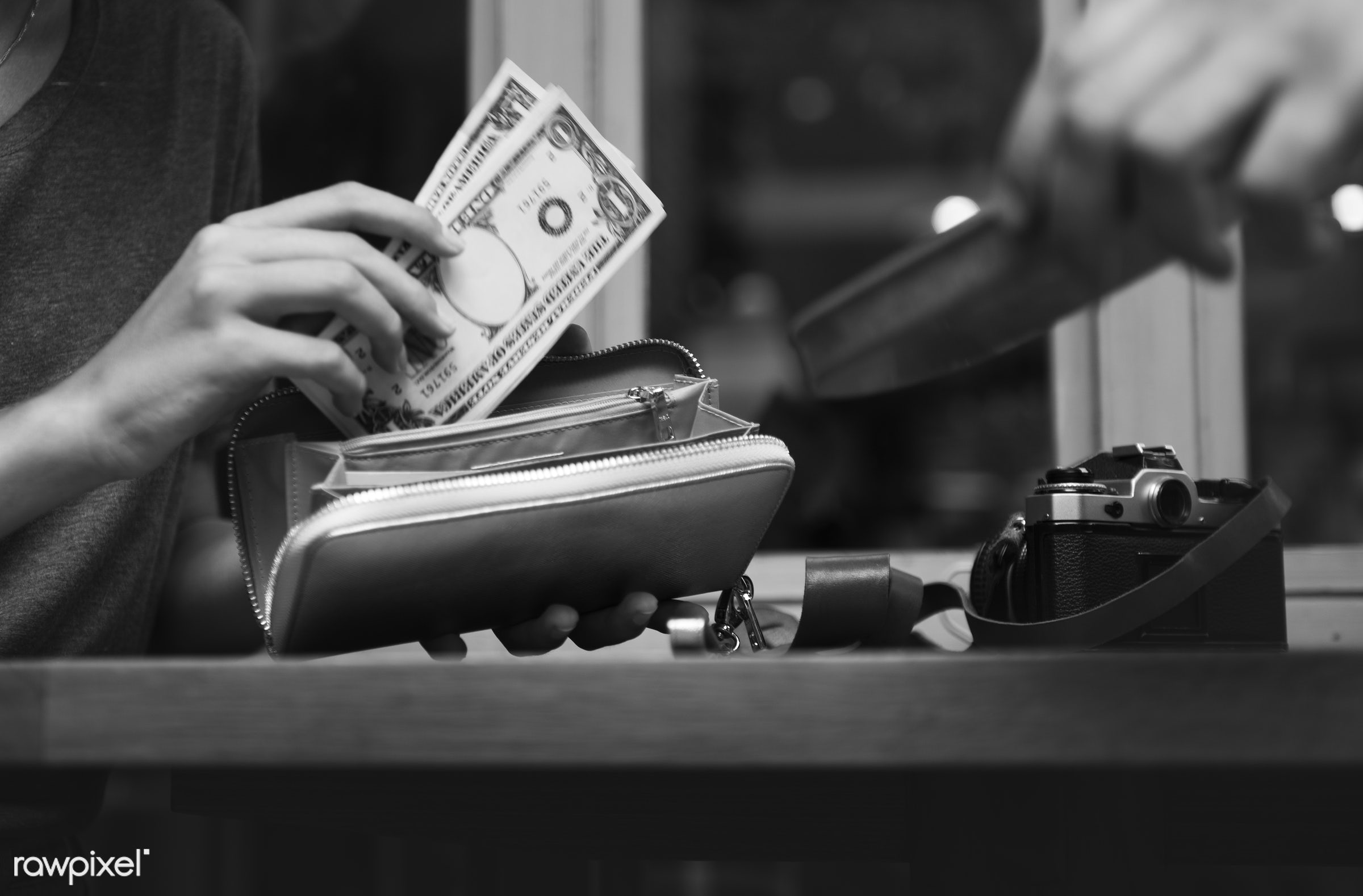 purse, bill, date, restaurant, wallet, girl, woman, glass, money, paying, check, payment, camera, dollars, table, window,...