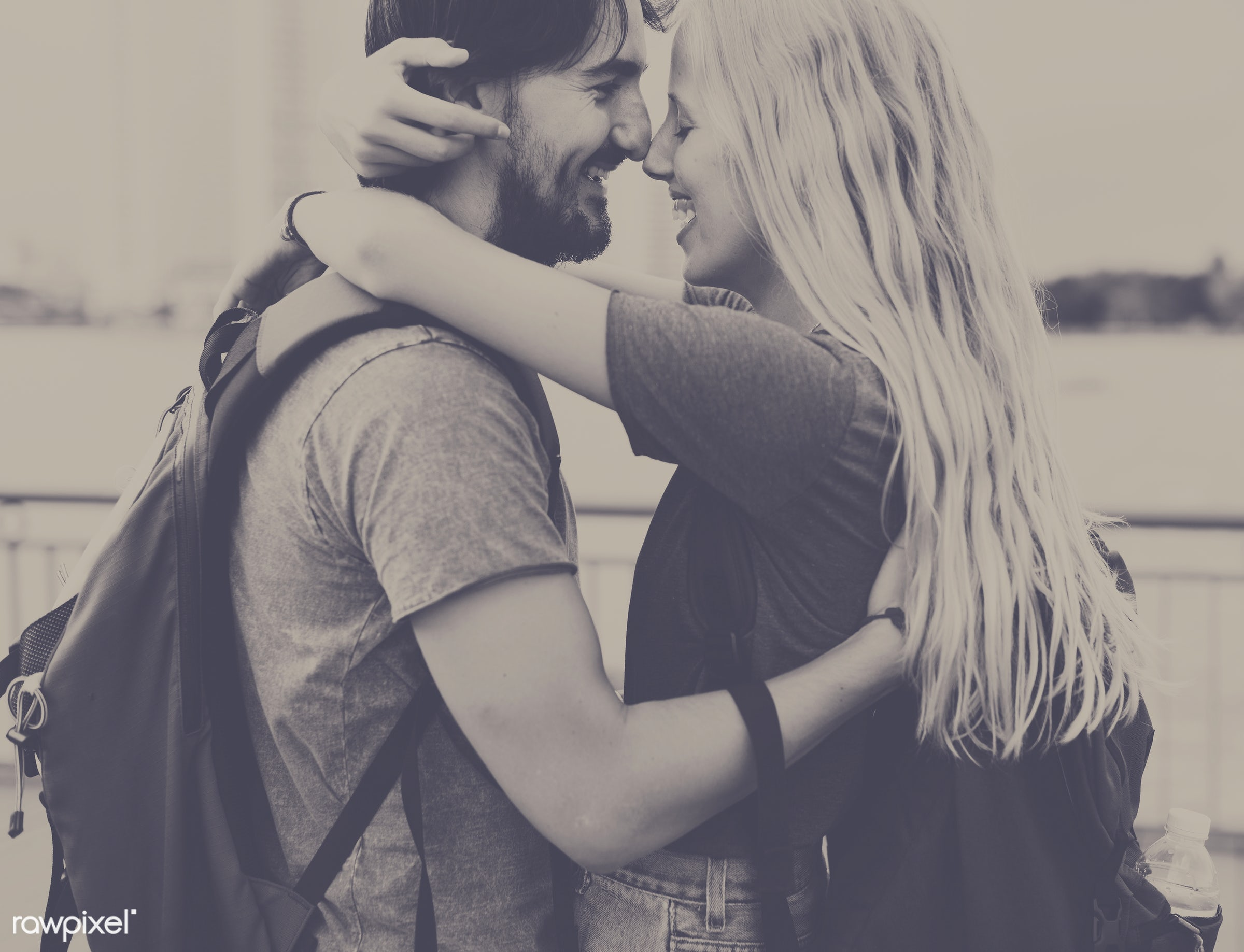 adult, affection, arms, around, beard, blonde, bonding, boyfriend, casual, caucasian, cheerful, city, couple, embrace, eyes...