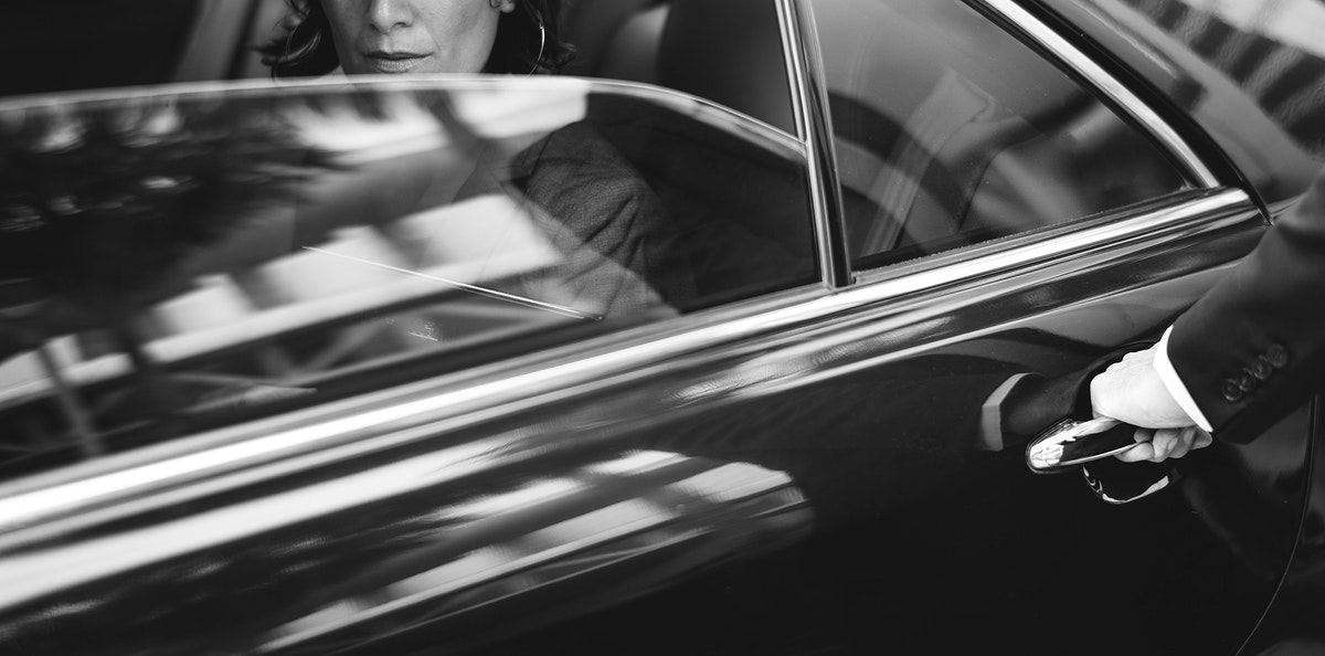 Businesswoman Corporate Taxi Transport Service
