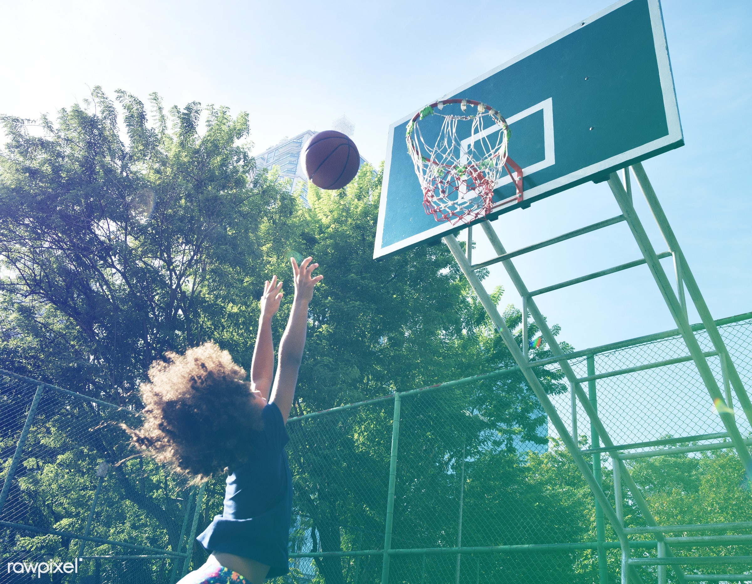 basketball, athletics, player, african, street, court, exercise, recreation, kid, child, playing, girl, arena, family,...