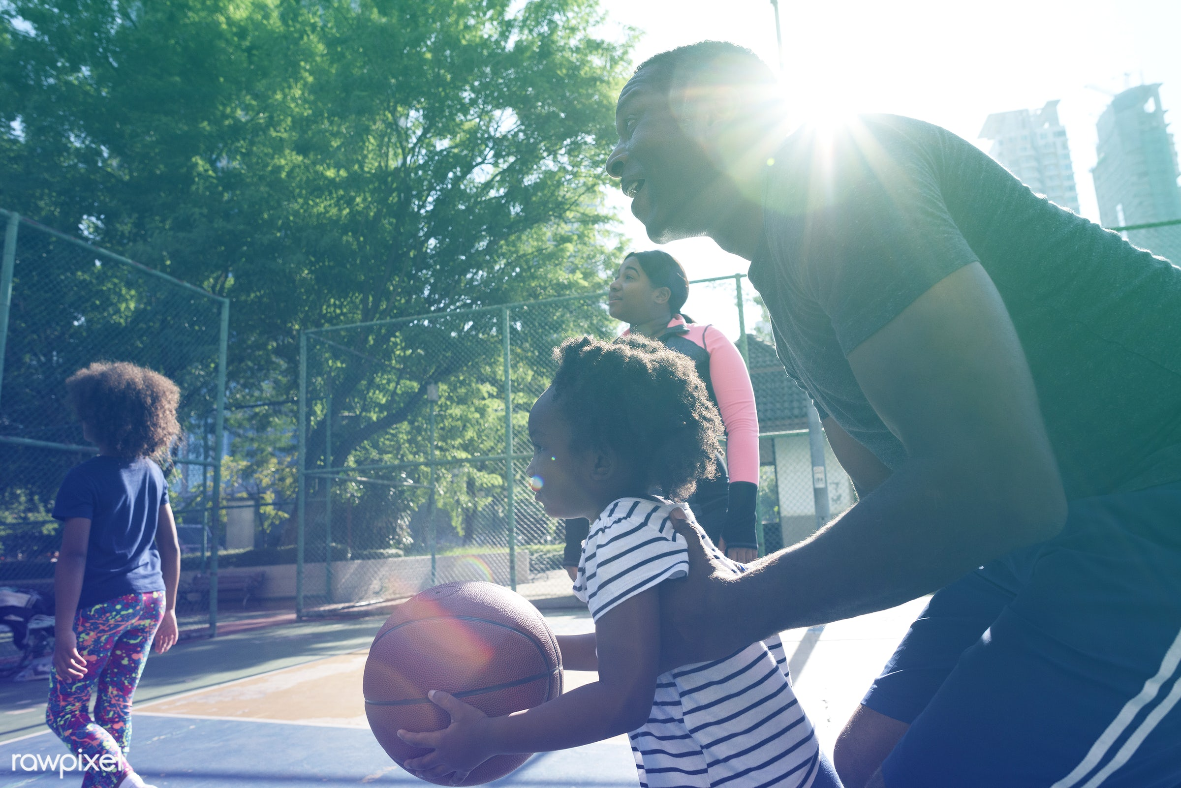basketball, athletics, player, african, street, court, exercise, recreation, kid, father, child, playing, girl, arena,...