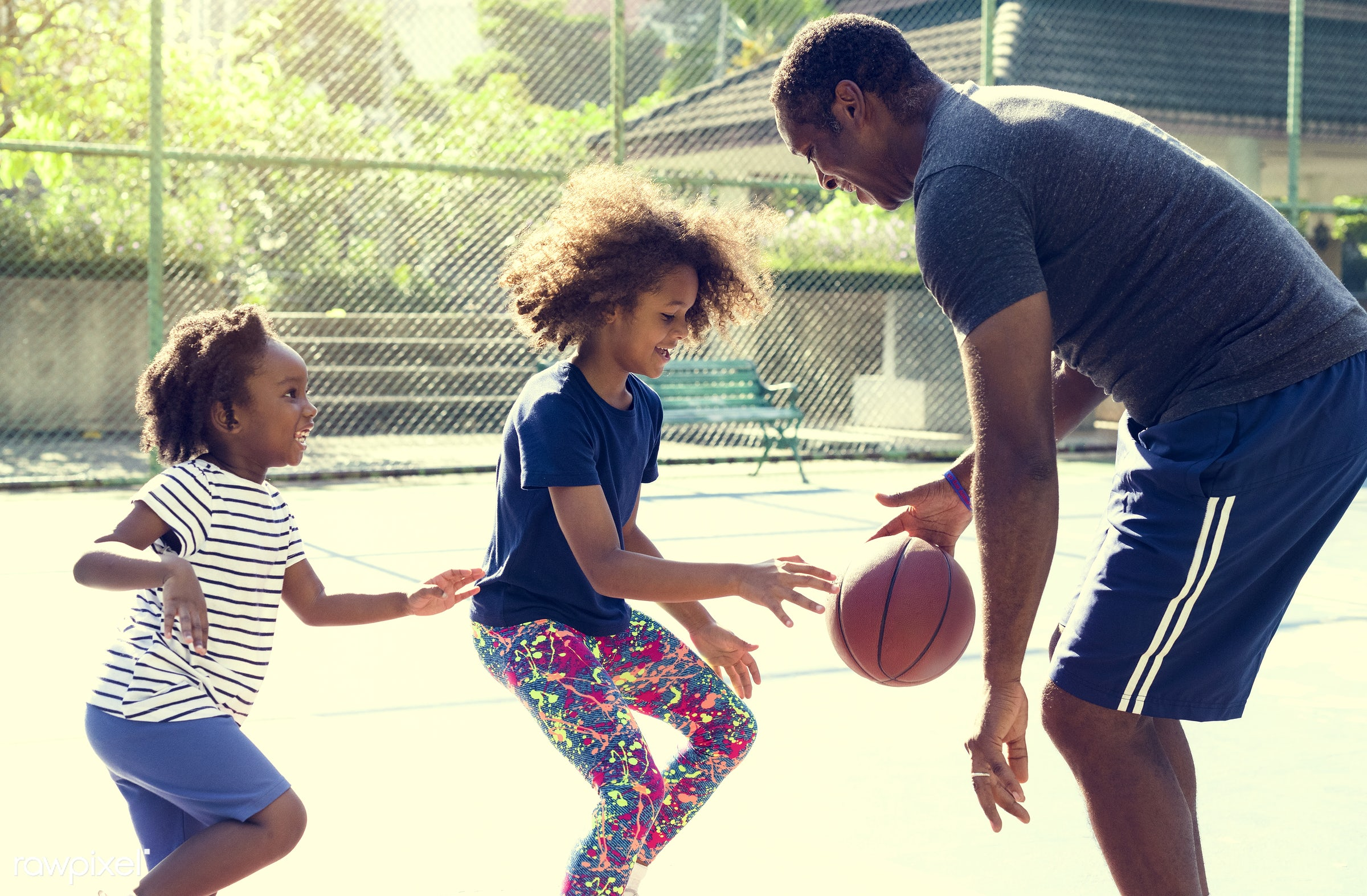 basketball, athletics, african, player, street, exercise, court, recreation, father, arena, family, activity, athlete, ball...