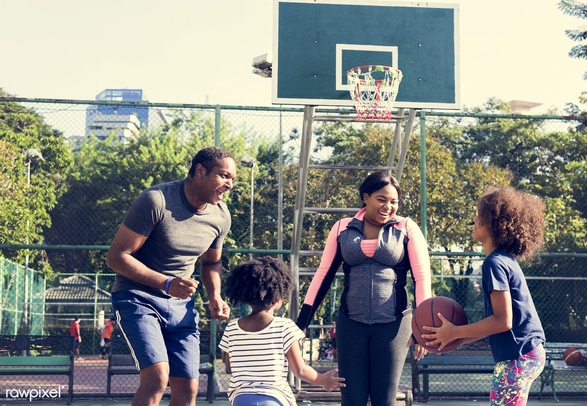 basketball, athletics, african, player, street, exercise, court, recreation, father, sister, arena, family, activity,...