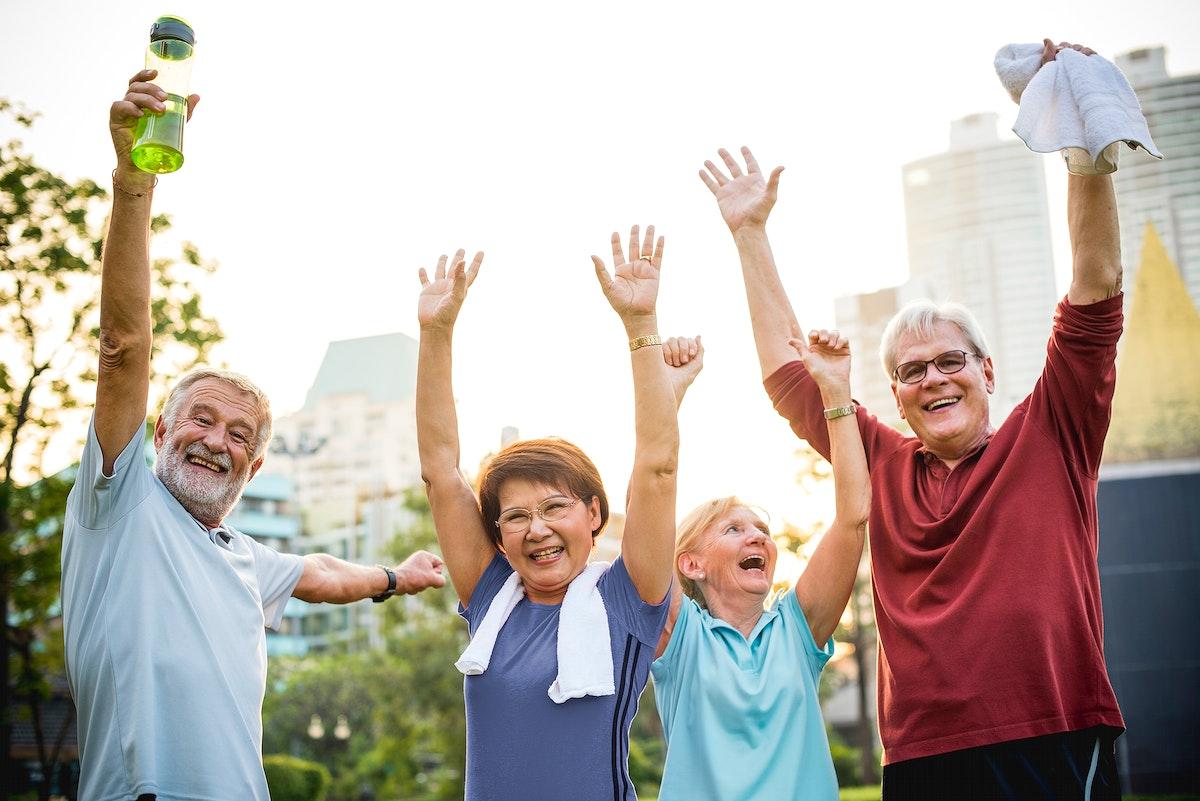 Senior Adult Teamwork Hands Together