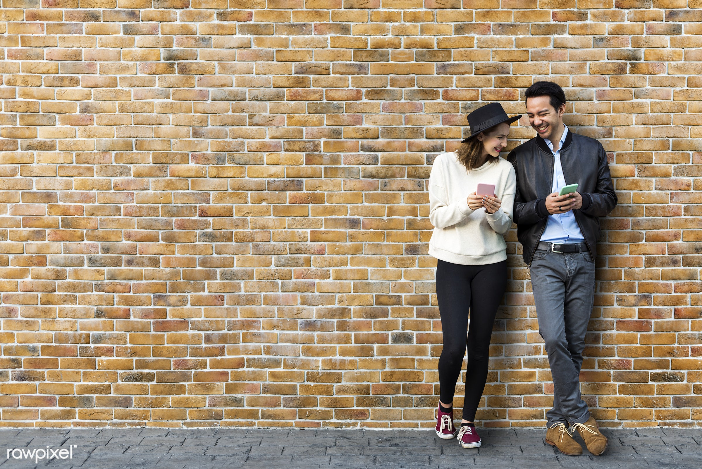 couple, love, mockup, asian, mobility, outside, dating, brick wall, city, vacation, woman, happiness, adult, american,...