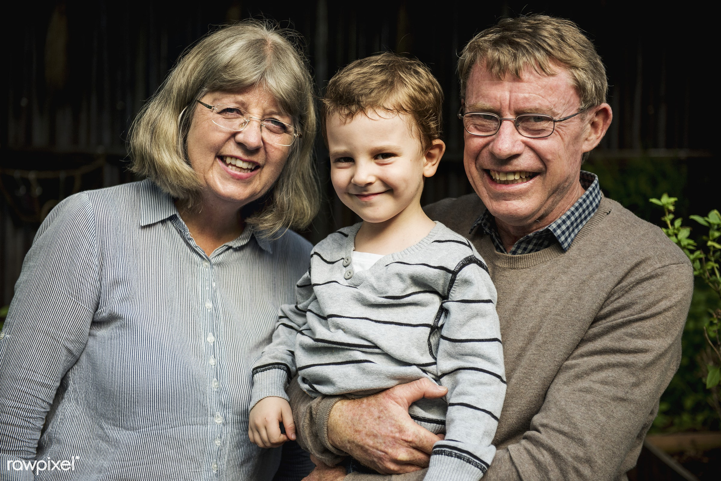 Caucasian kid with grandparents cheerful family portrait - boy, cheerful, child, family, grandparents, kid, little, people,...