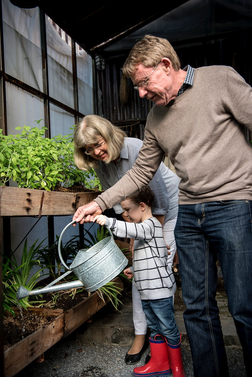 Grandparents helping a young boy water the plants