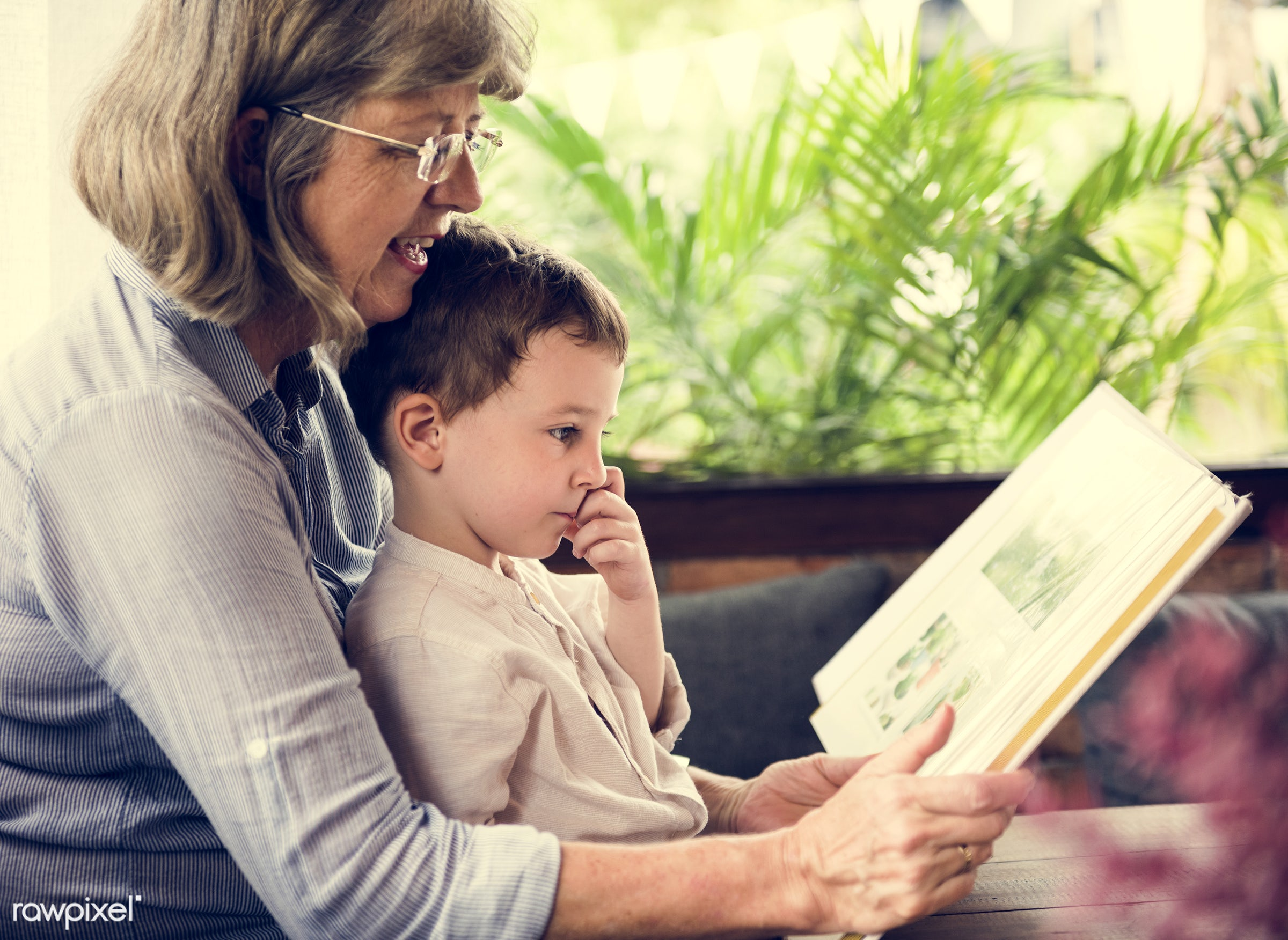 reading, recreation, together, caucasian, kid, love, child, grandchild, retirement, family, happy, grandchildren, childhood...
