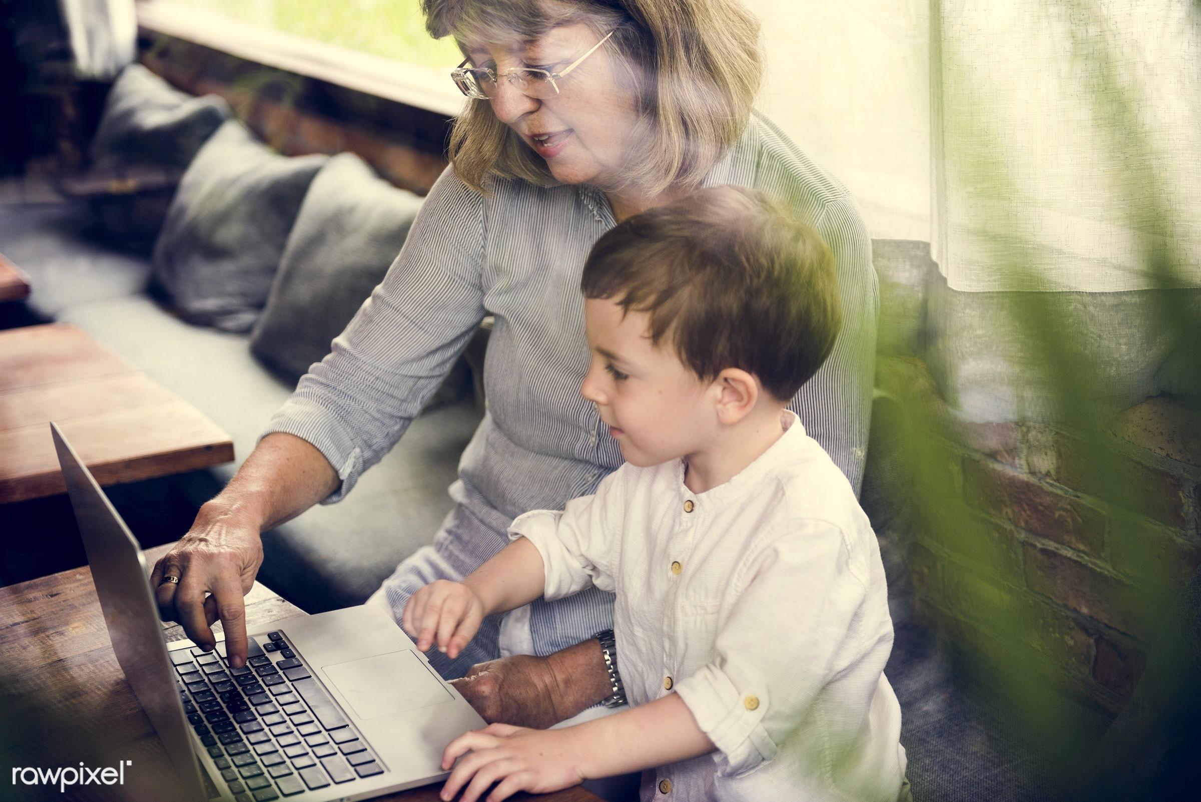 grandparent, activity, caucasian, cheerful, child, childhood, connection, device, digital, entertainment, family, generation...