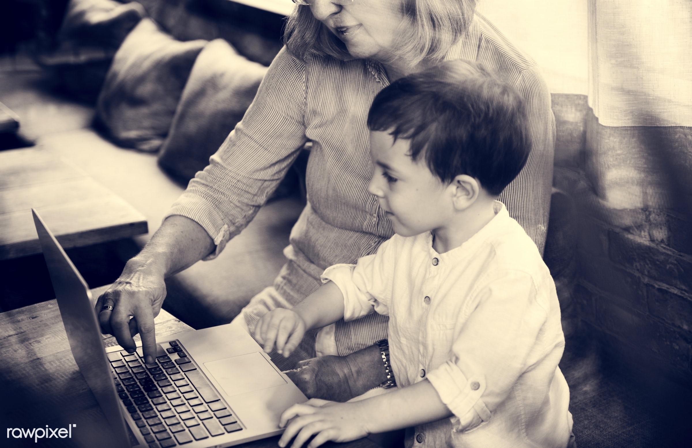 technology, recreation, digital, together, kid, caucasian, grandchild, love, child, retirement, happy, family, grandchildren...