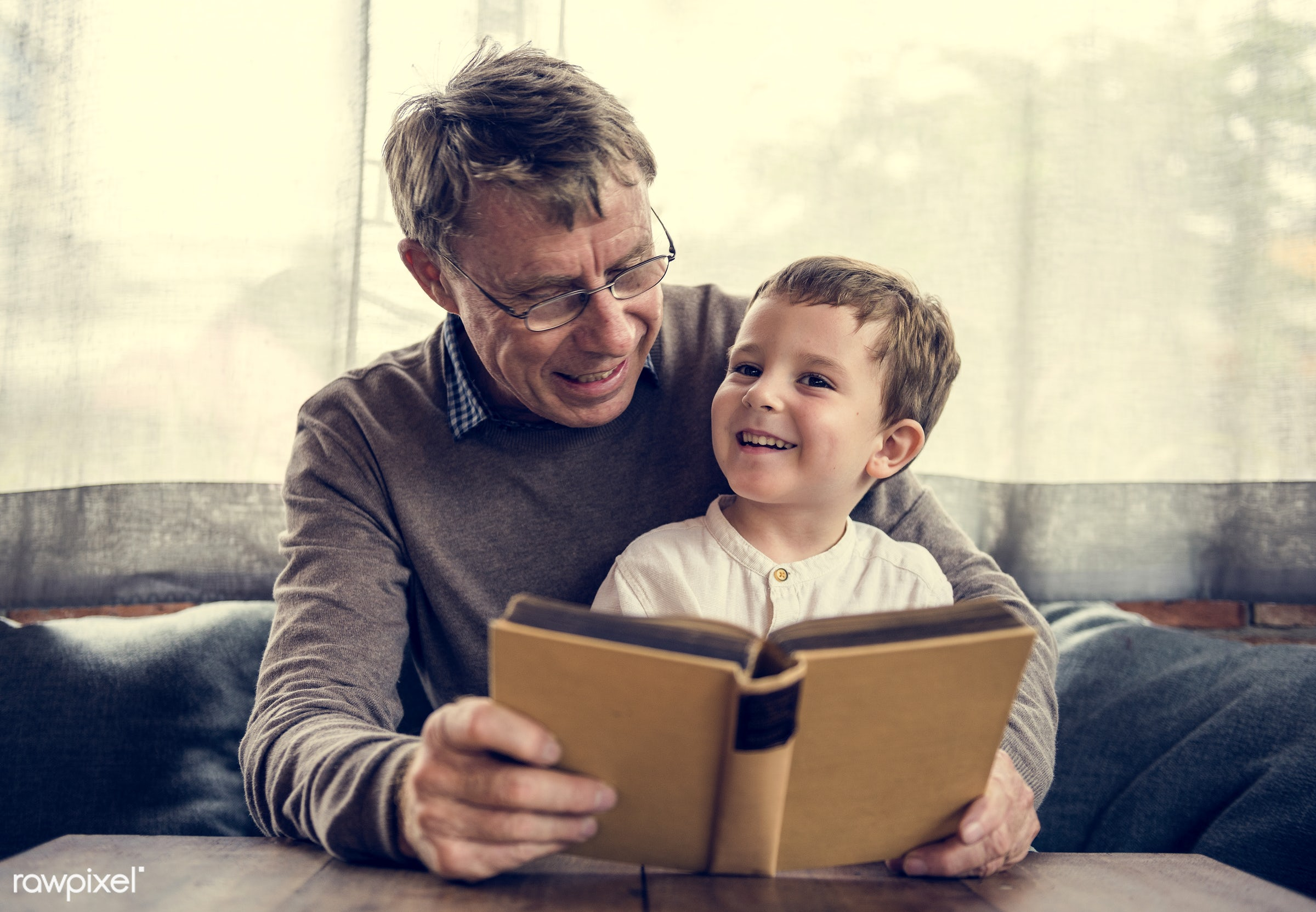 reading, grandfather, recreation, together, caucasian, kid, grandchild, love, child, retirement, family, happy,...