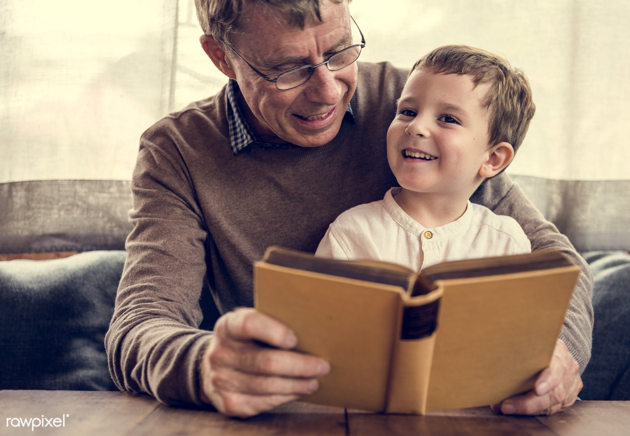 reading, grandfather, recreation, together, kid, caucasian, grandchild, love, child, retirement, family, happy,...