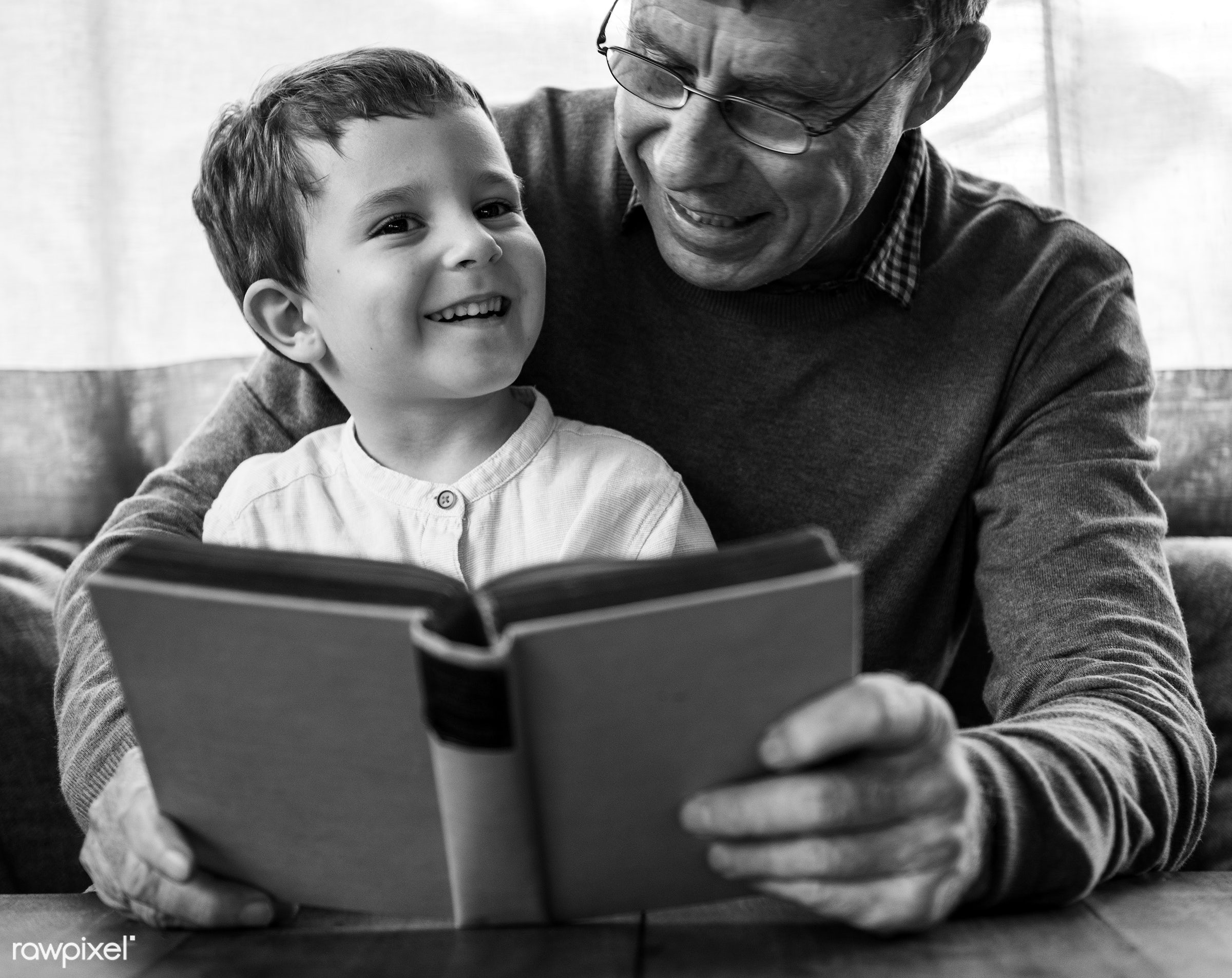 reading, grandfather, recreation, together, caucasian, kid, child, love, grandchild, retirement, family, happy,...