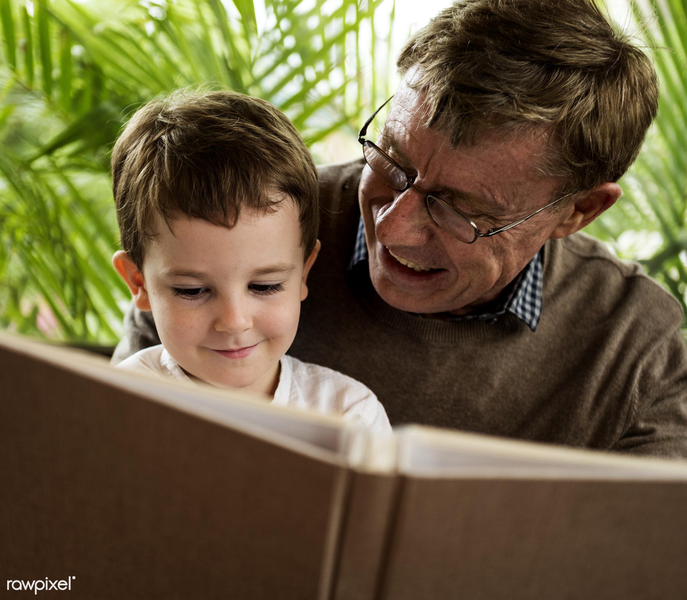 reading, grandfather, recreation, together, caucasian, kid, child, love, grandchild, retirement, family, happy,...