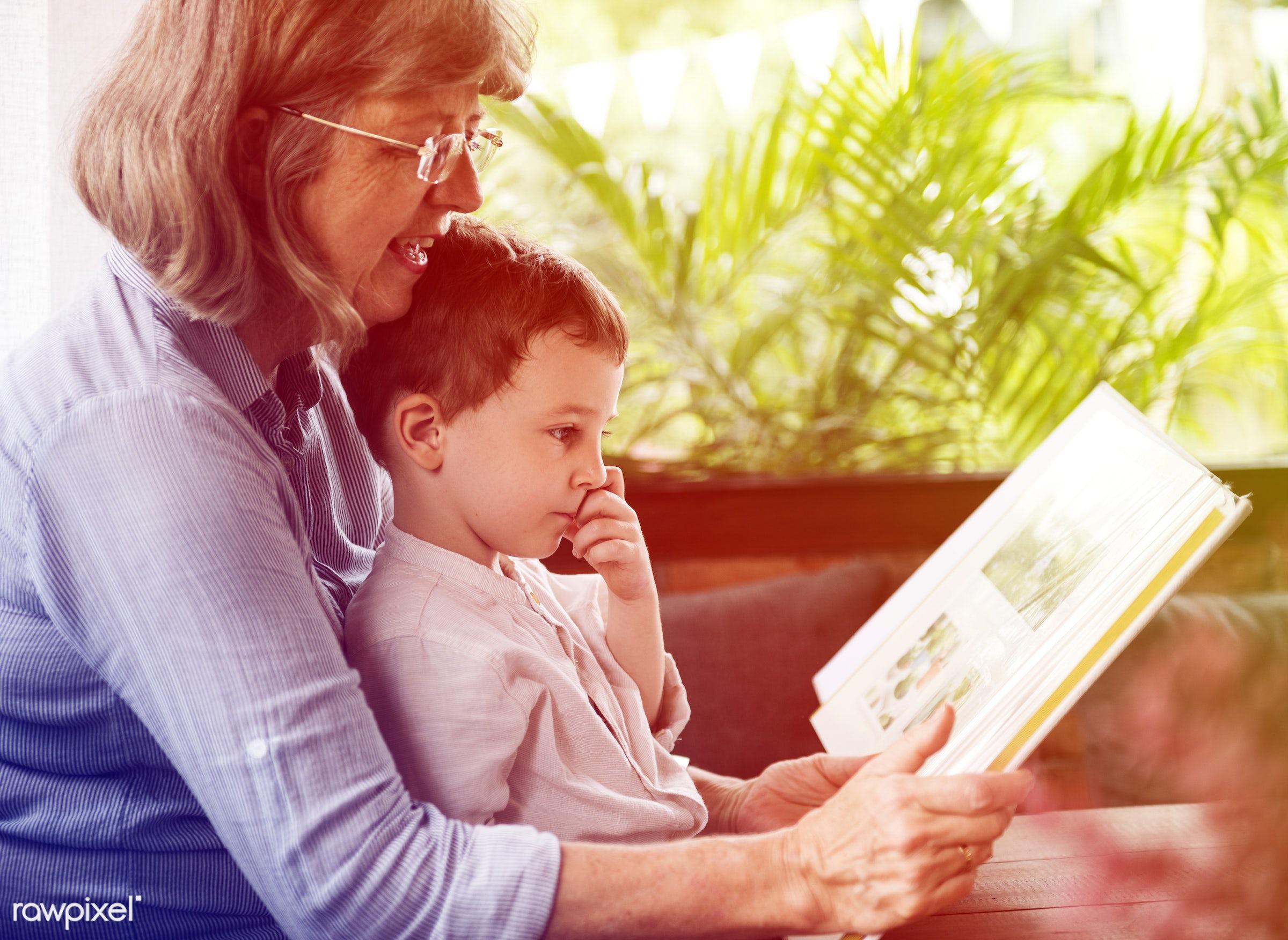 reading, raise, recreation, together, kid, caucasian, love, child, grandchild, retirement, lomo, happy, family,...