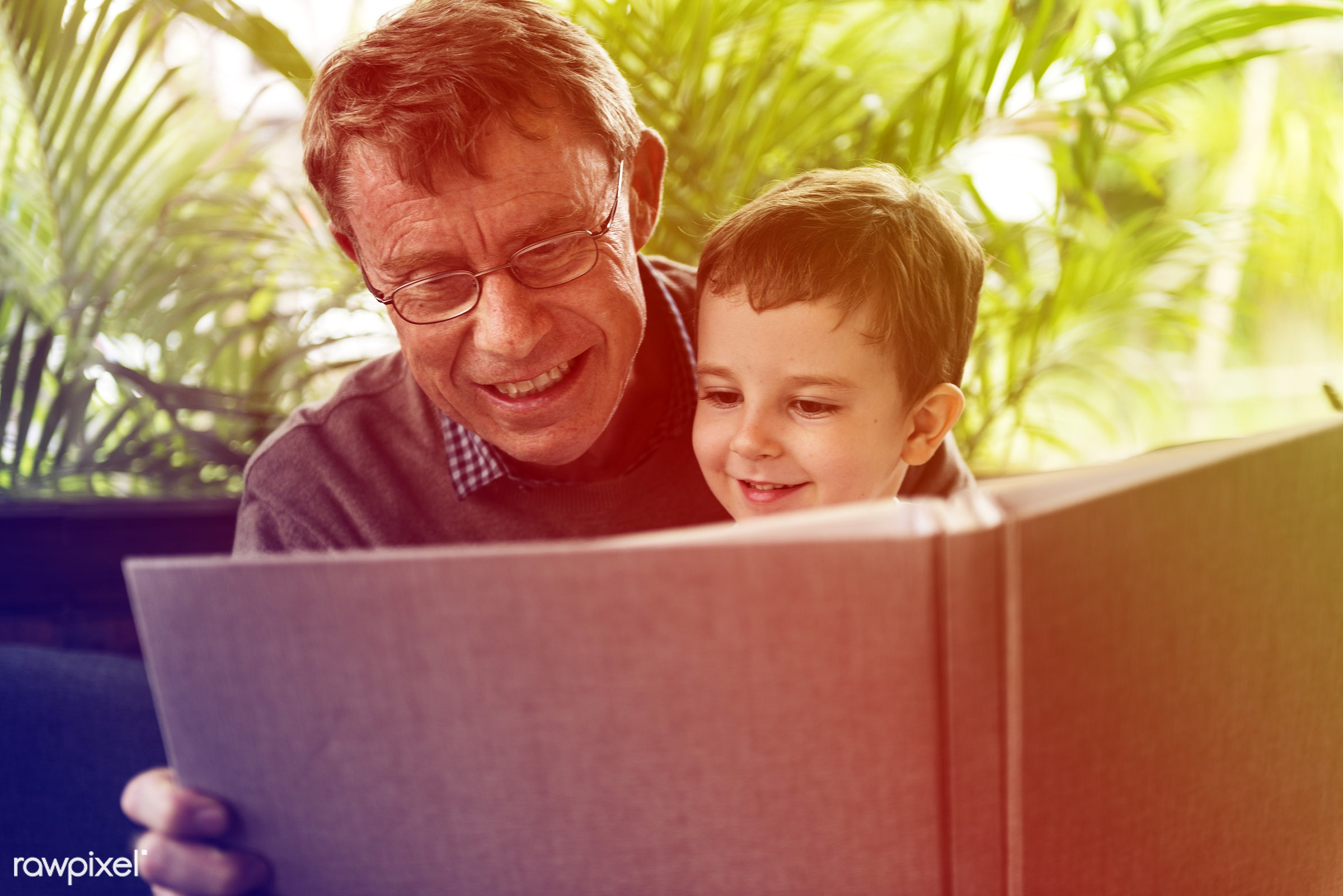 expression, person, reading, grandfather, album, visit, show, smitten, house, recreation, people, together, caucasian, kid,...