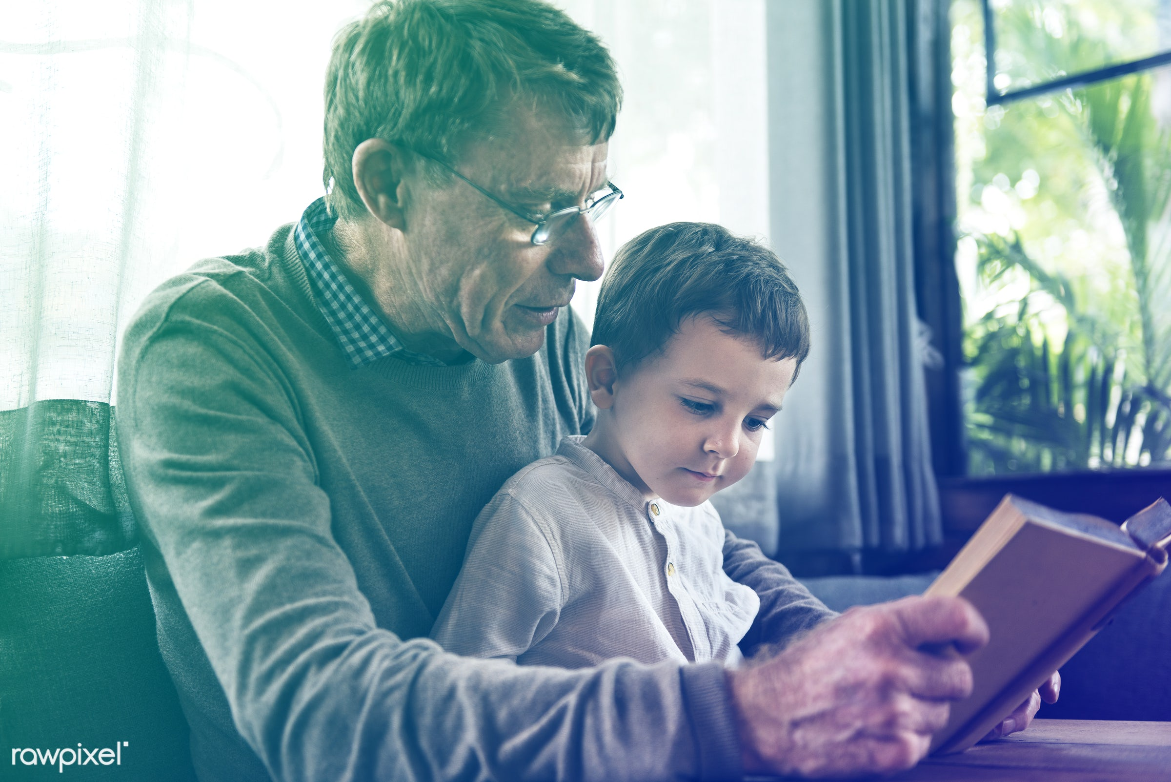 person, reading, grandfather, smitten, recreation, people, together, caucasian, kid, grandchild, love, retirement, family,...
