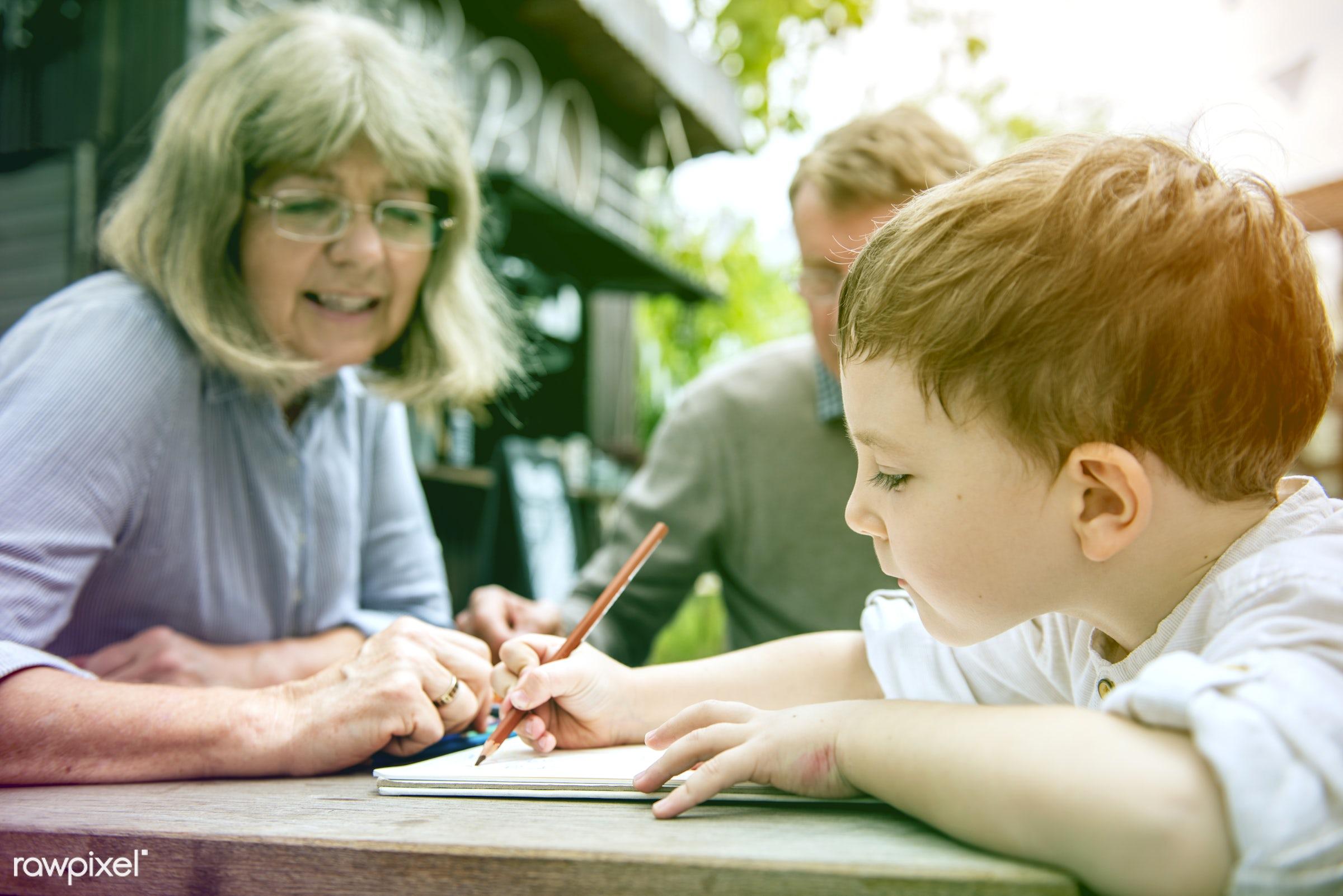 concept, grandfather, writing, faded, vibrant, recreation, together, kid, caucasian, love, grandchild, child, retirement,...