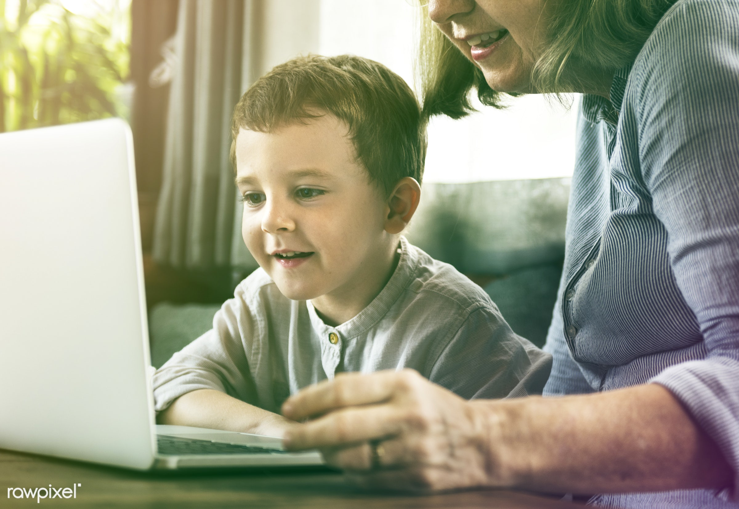 person, technology, house, recreation, people, together, caucasian, kid, grandchild, love, retirement, woman, family, laptop...