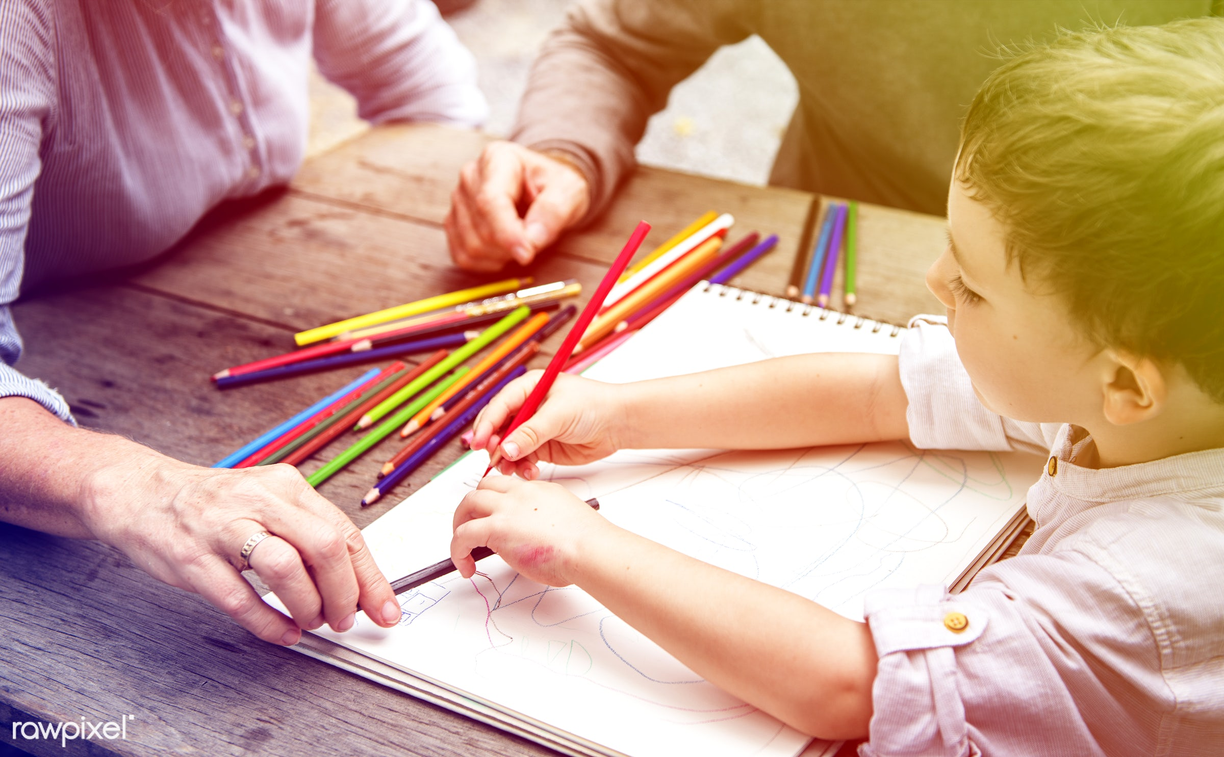 concept, grandfather, color pencil, faded, vibrant, recreation, drawing, together, caucasian, kid, child, love, grandchild,...