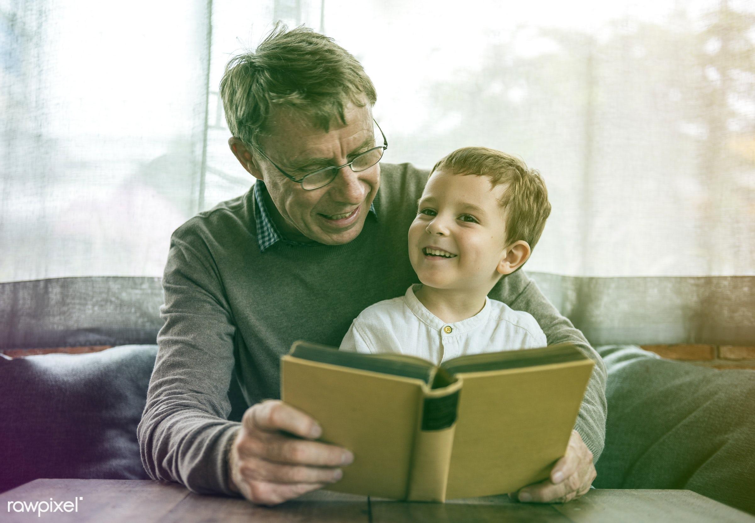 reading, grandfather, recreation, together, kid, caucasian, love, child, grandchild, retirement, lomo, happy, family,...