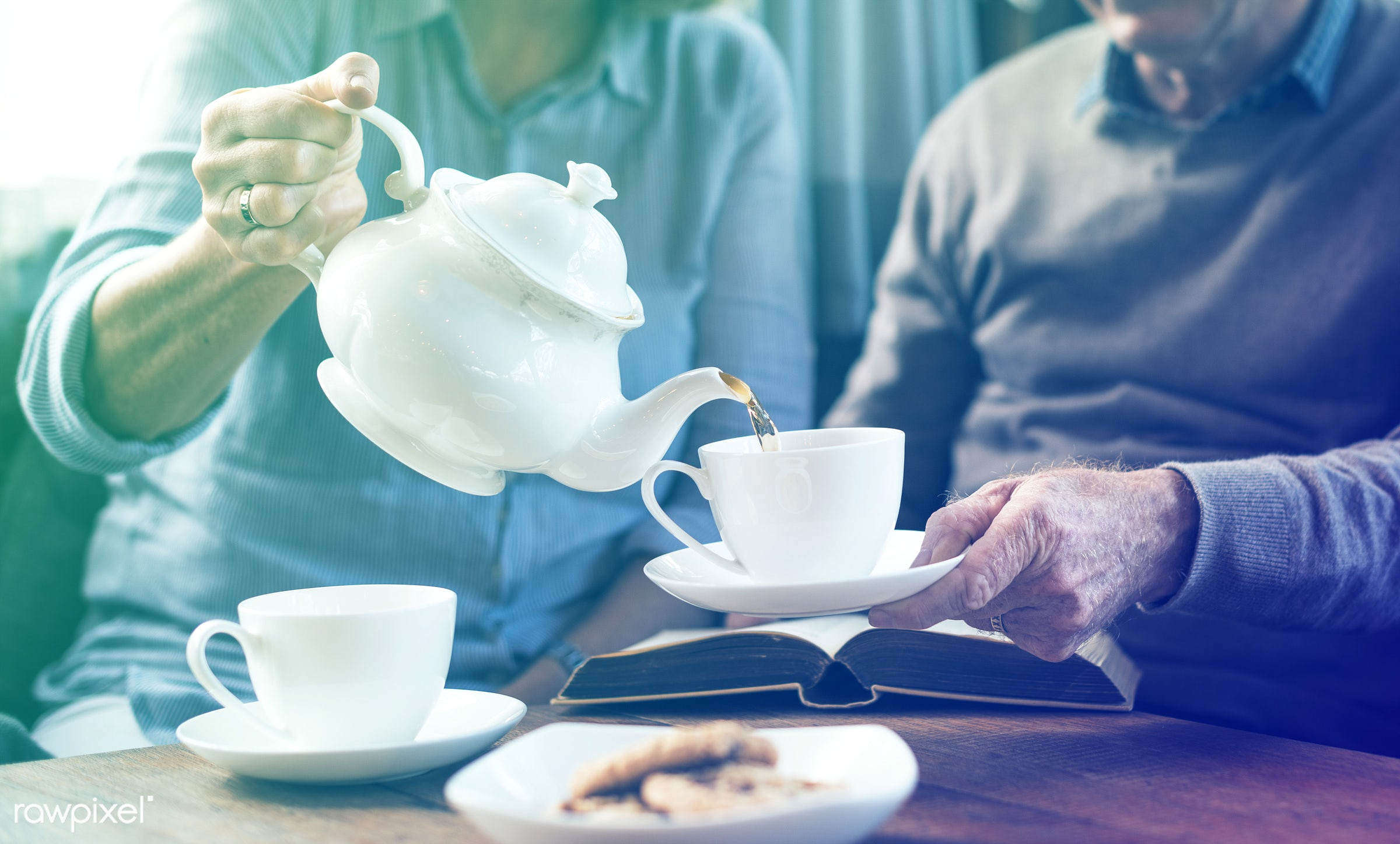 person, reading, relax, recreation, tea, people, together, pot, love, break, woman, family, interest, serenity, pouring,...
